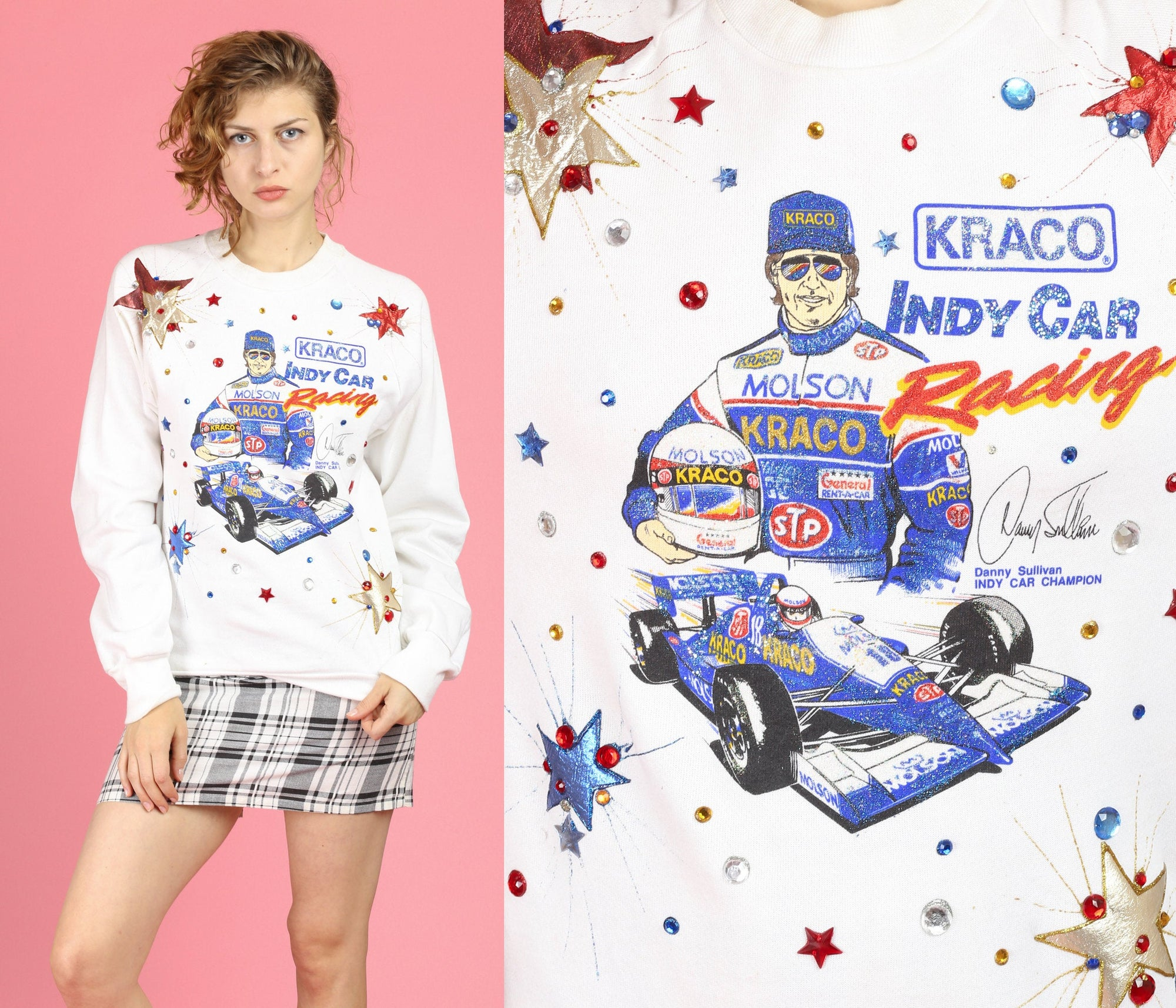 90s IndyCar Grand Prix Danny Sullivan Embellished Sweatshirt - Medium