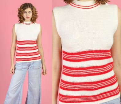 70s Mockneck Striped Sleeveless Sweater Top - Medium