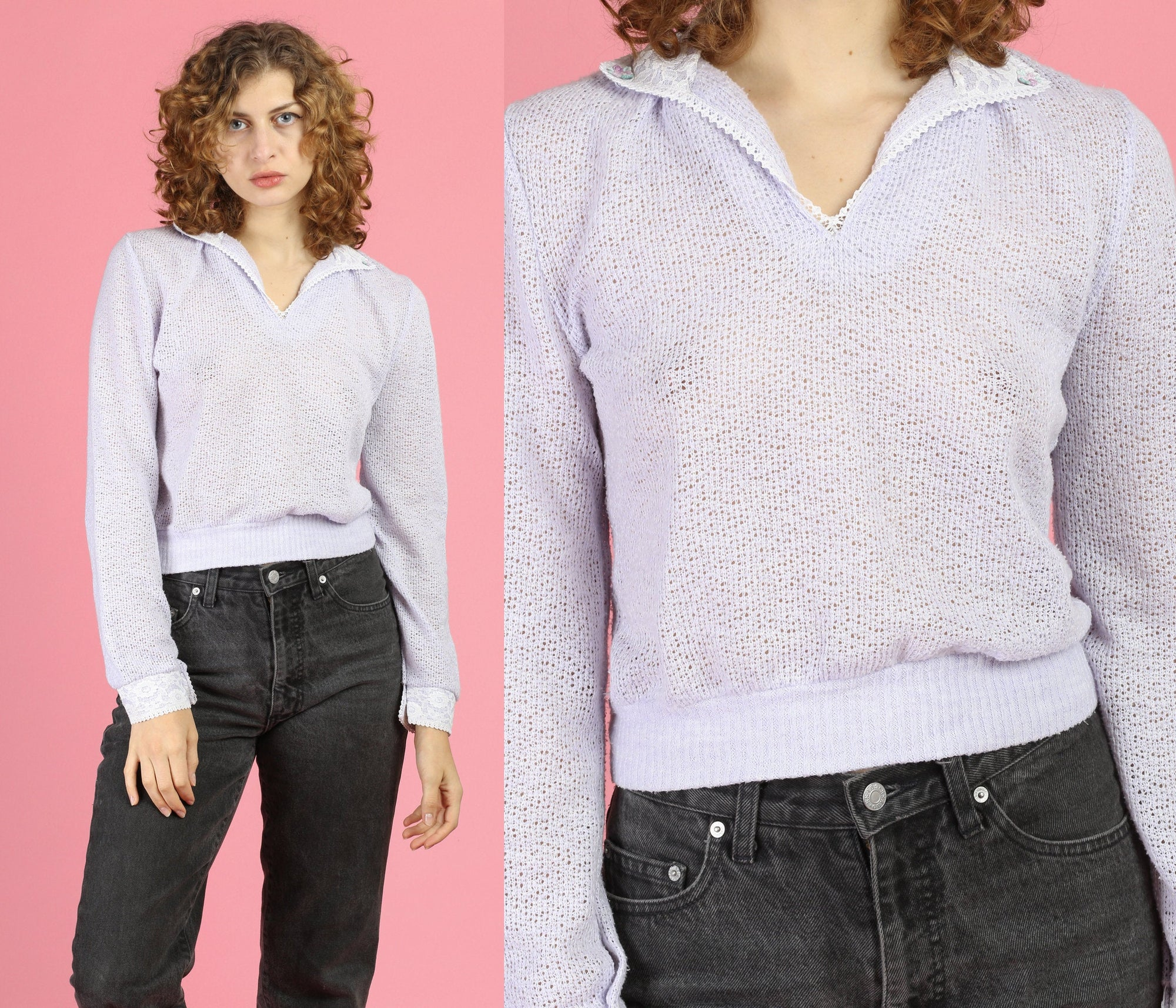 70s Lilac Purple Cropped Knit Sweater - Small to Medium