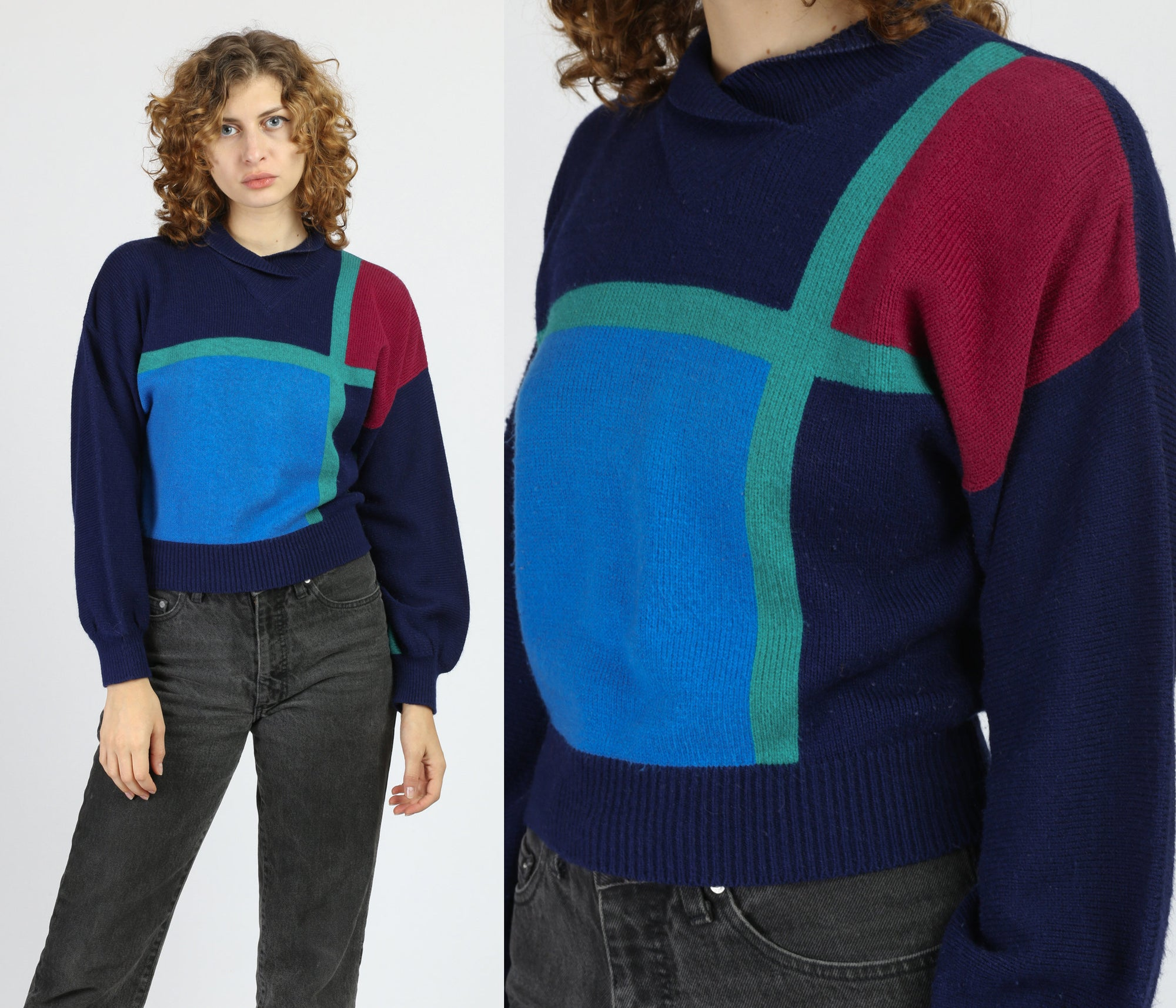 60s 70s Cropped Collared Sweater - Medium