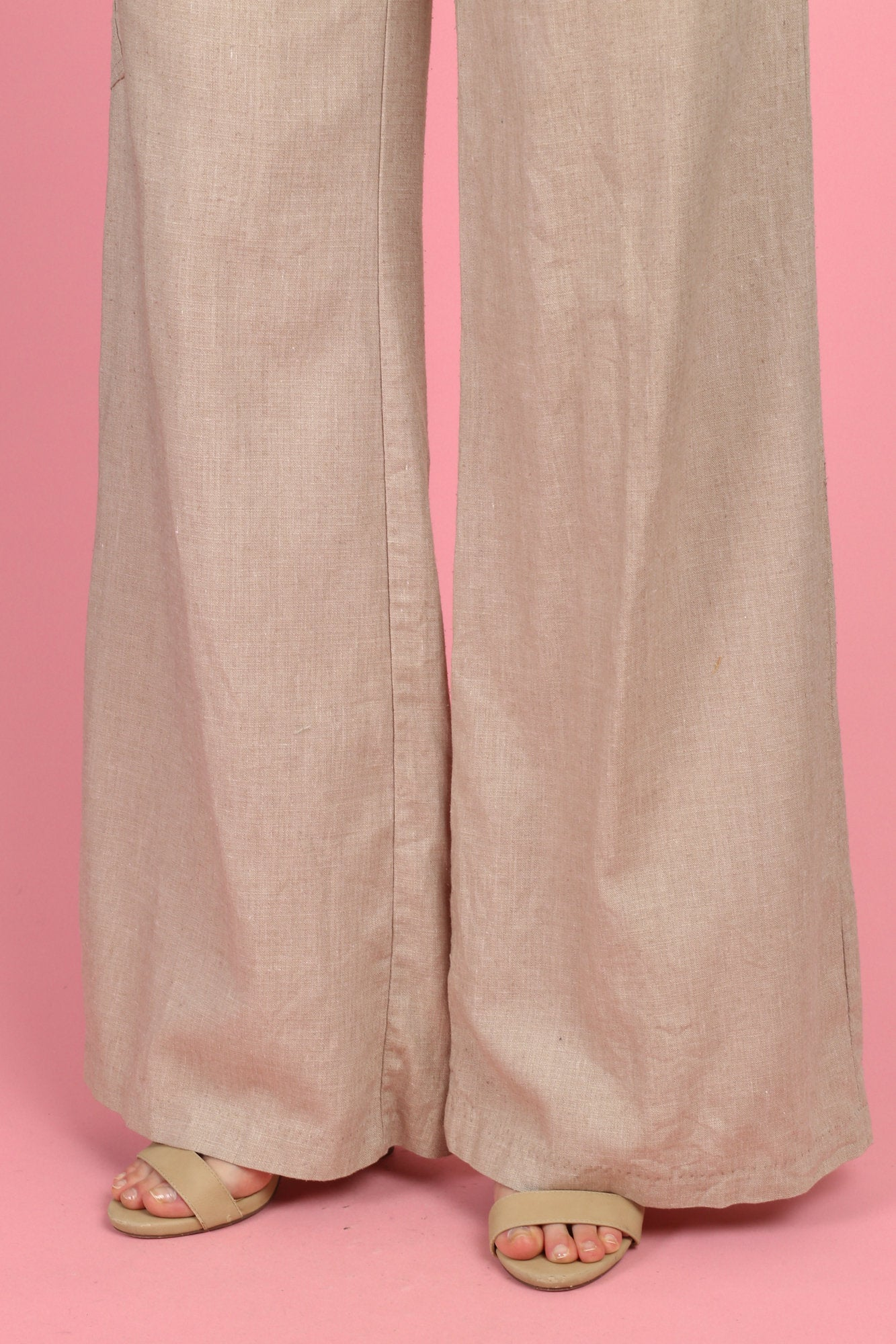 70s Boho Linen Wide Leg Pants - Women's Medium