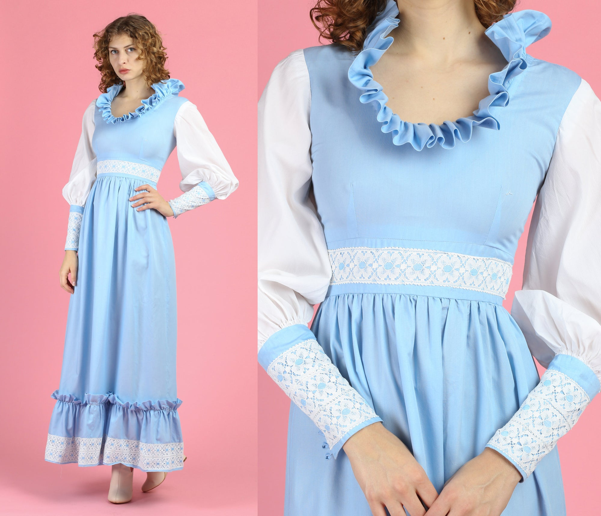 70s Blue & White Ruffle Collar Prairie Maxi Dress - Extra Small