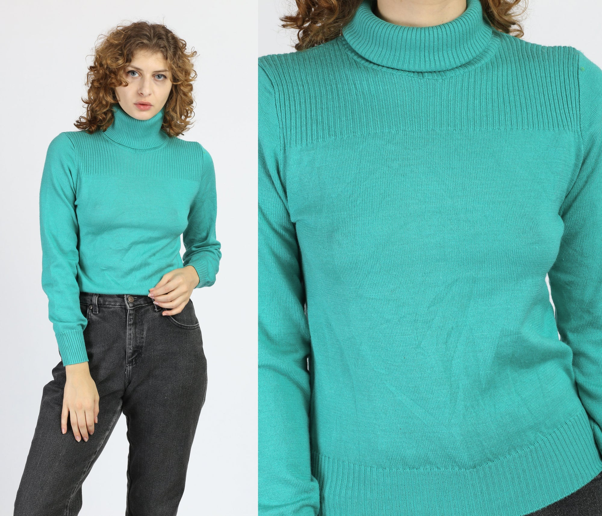 80s Teal Turtleneck Sweater - Small to Medium