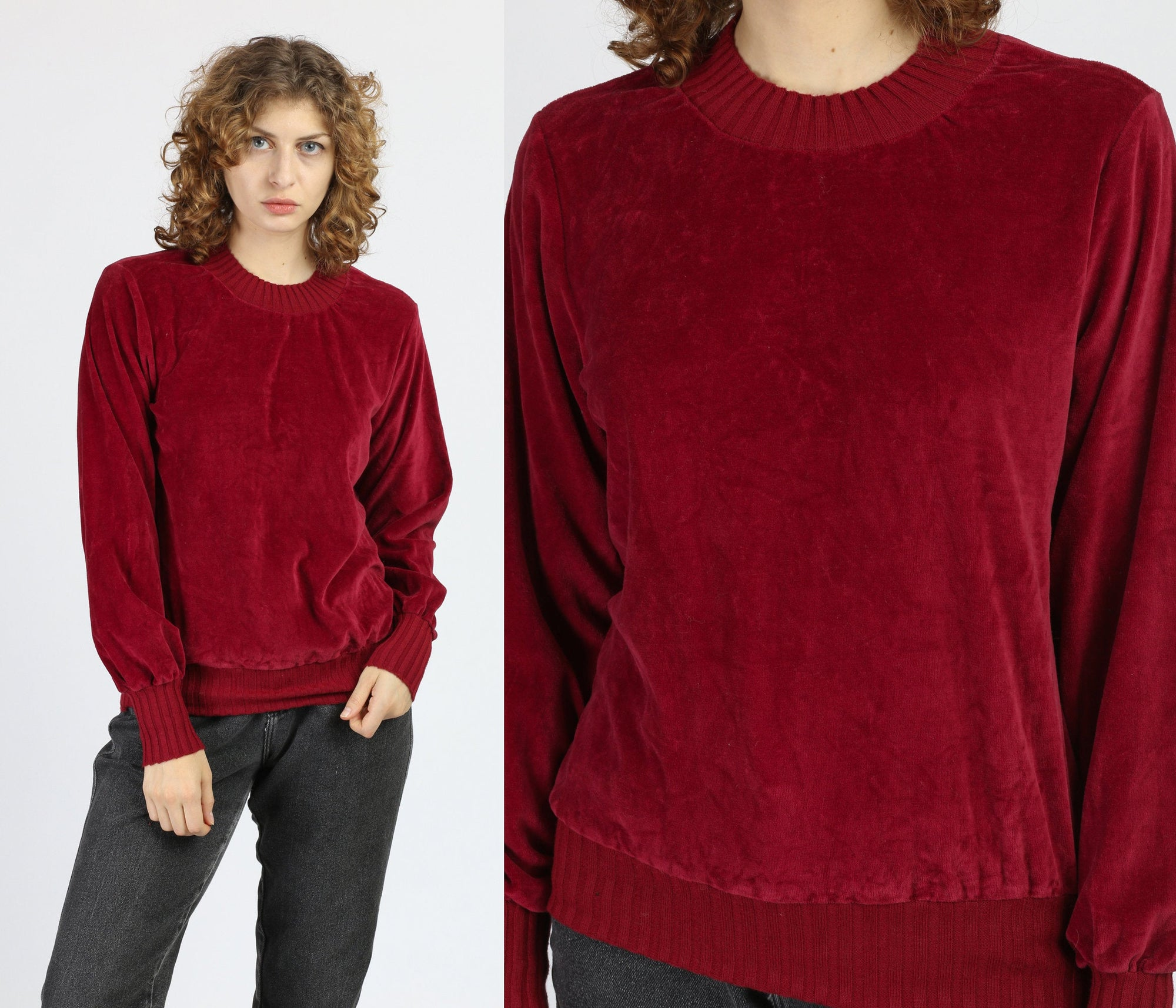 70s Red Velour Long Sleeve Top - Medium
