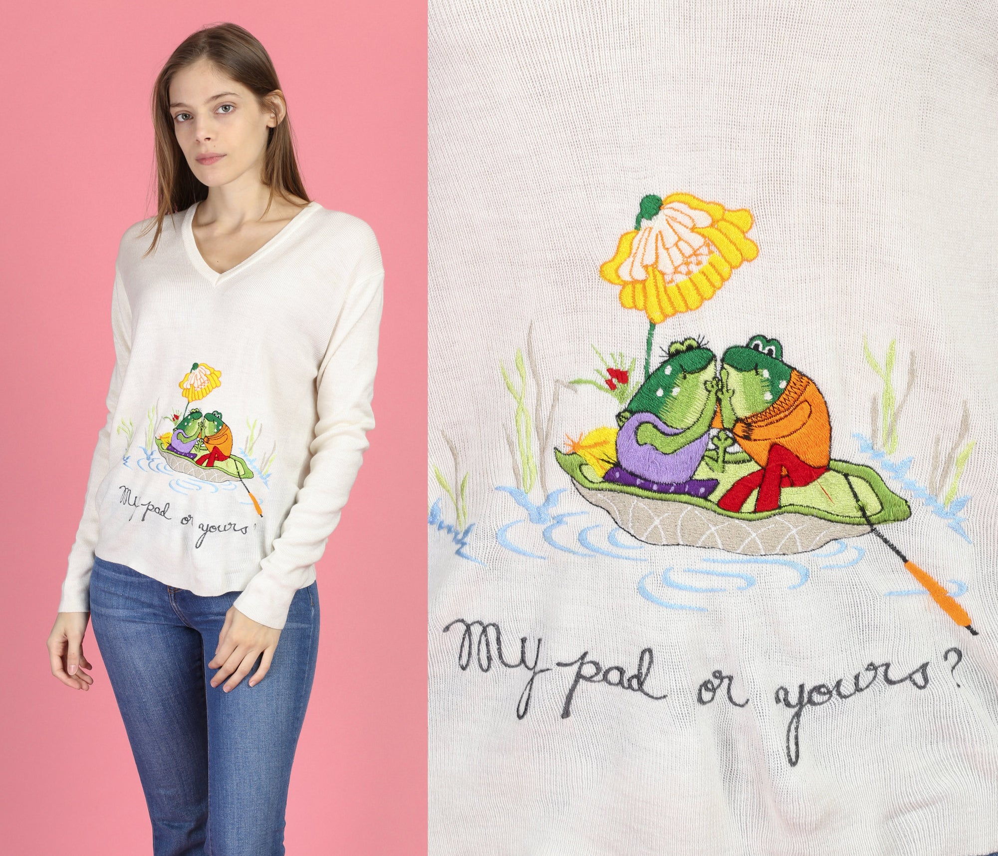 "70s ""My Pad Or Yours?"" Novelty Embroidered Sweater - Large"