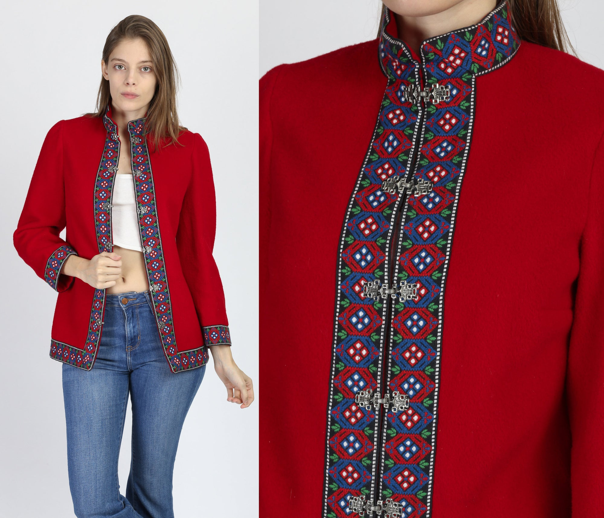 70s Danish Embroidered Red Wool Cardigan Jacket - Extra Small