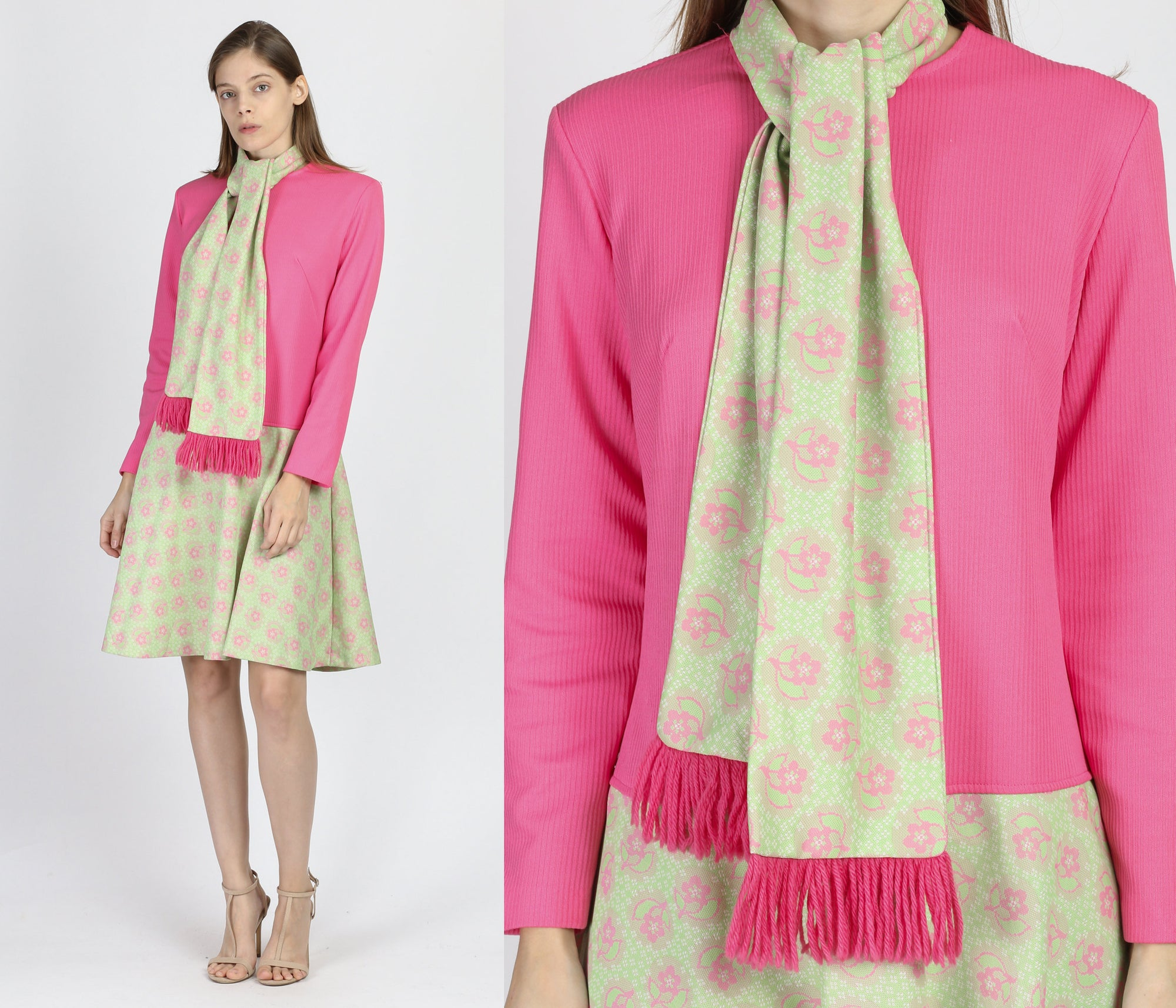 60s Mod Pink & Green Scarf Dress - Large