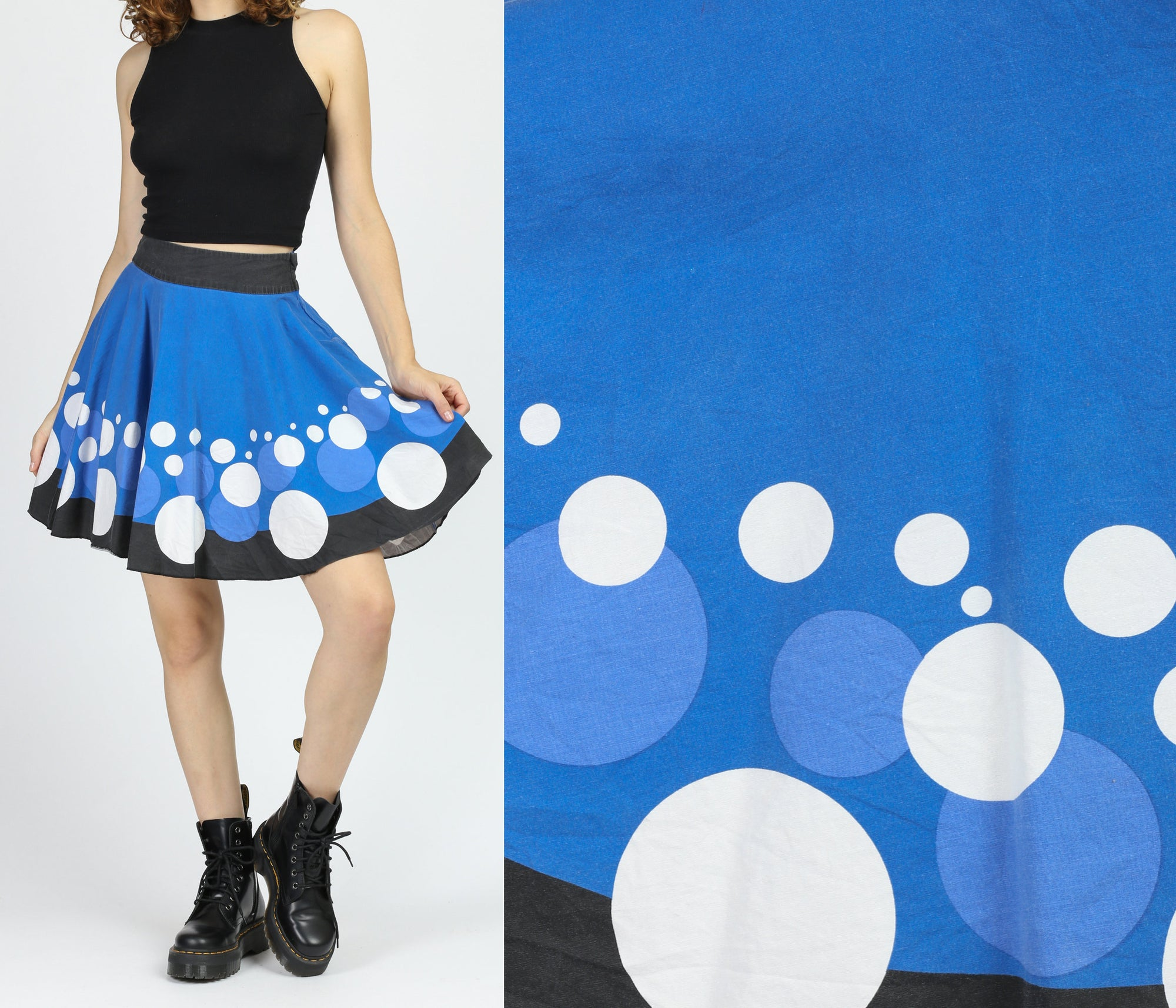 90s Bubble Print Mini Circle Skirt - Small