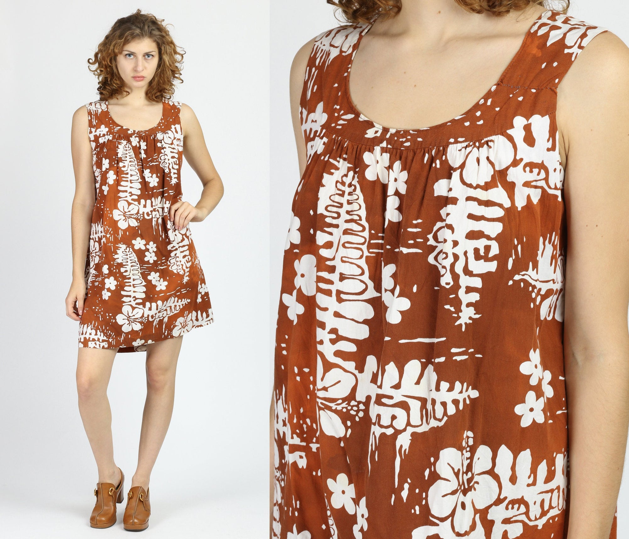 60s Hawaiian Floral Mini Dress - Large