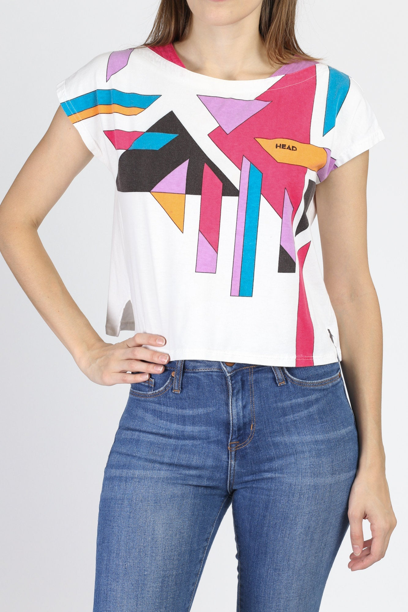 90s Head Cropped Geometric Graphic Tee - Small
