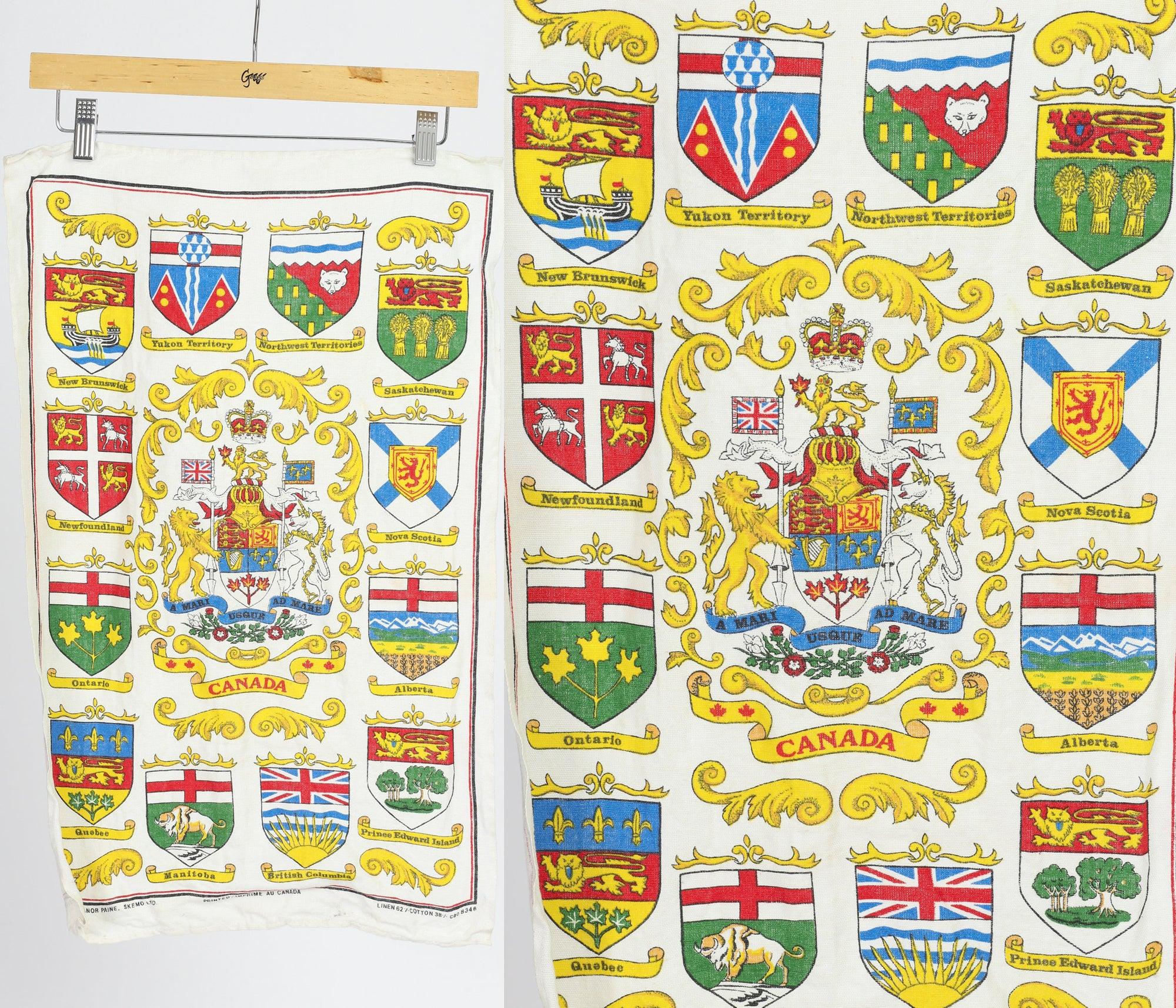 Vintage Canadian Provinces Souvenir Tea Towel