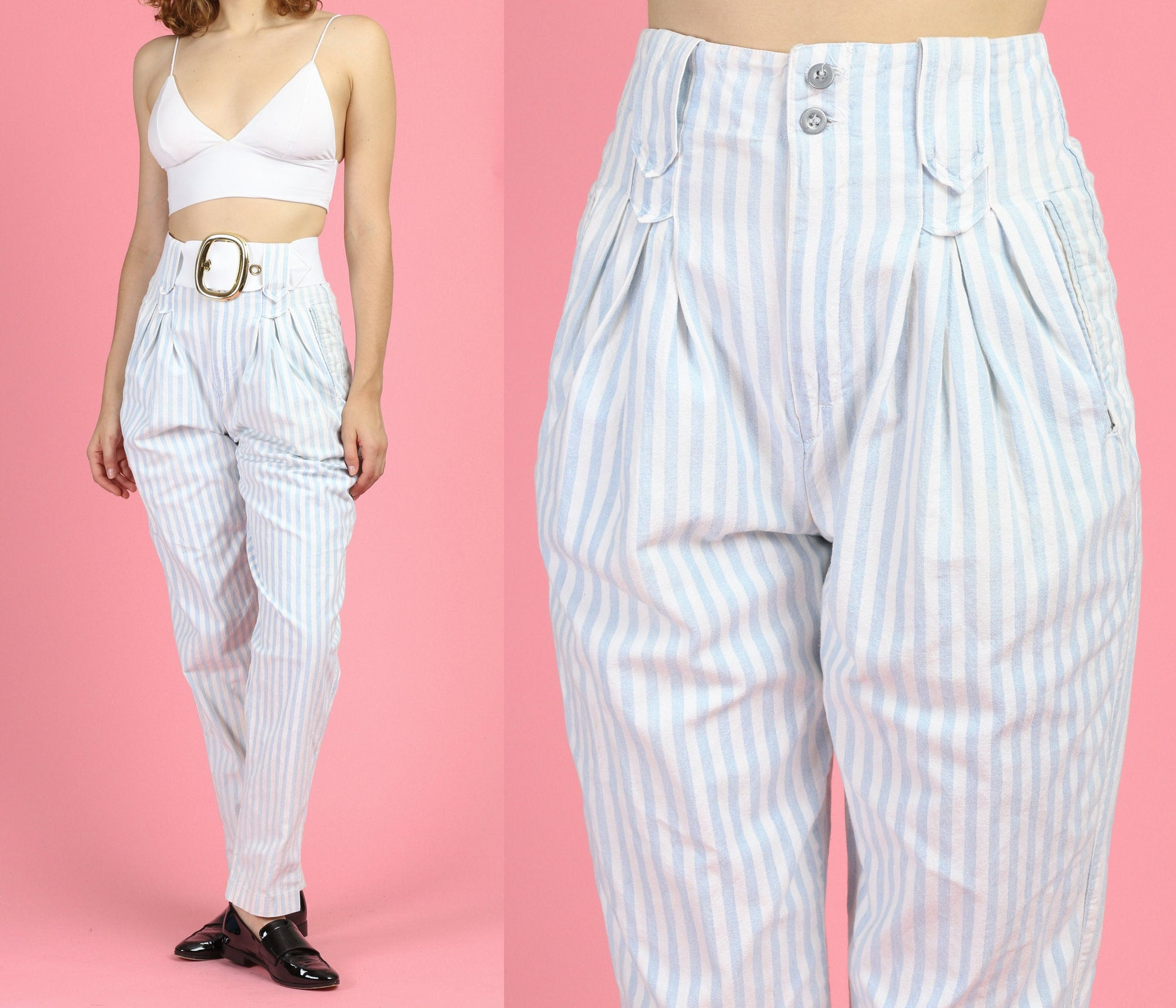 90s Striped Belted Jeans - Small