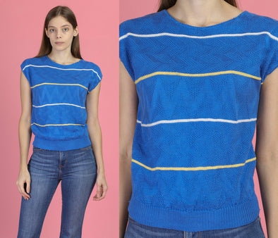 80s Blue Striped Knit Top - Small
