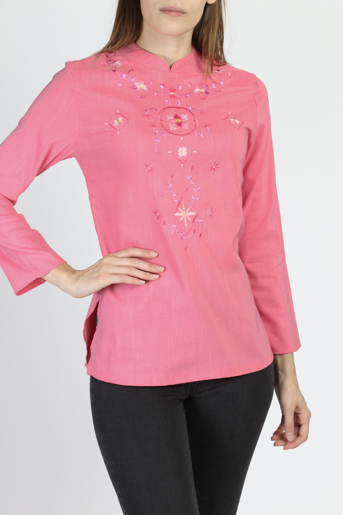 Vintage Pink Embroidered Floral Nehru Collar Blouse - Small