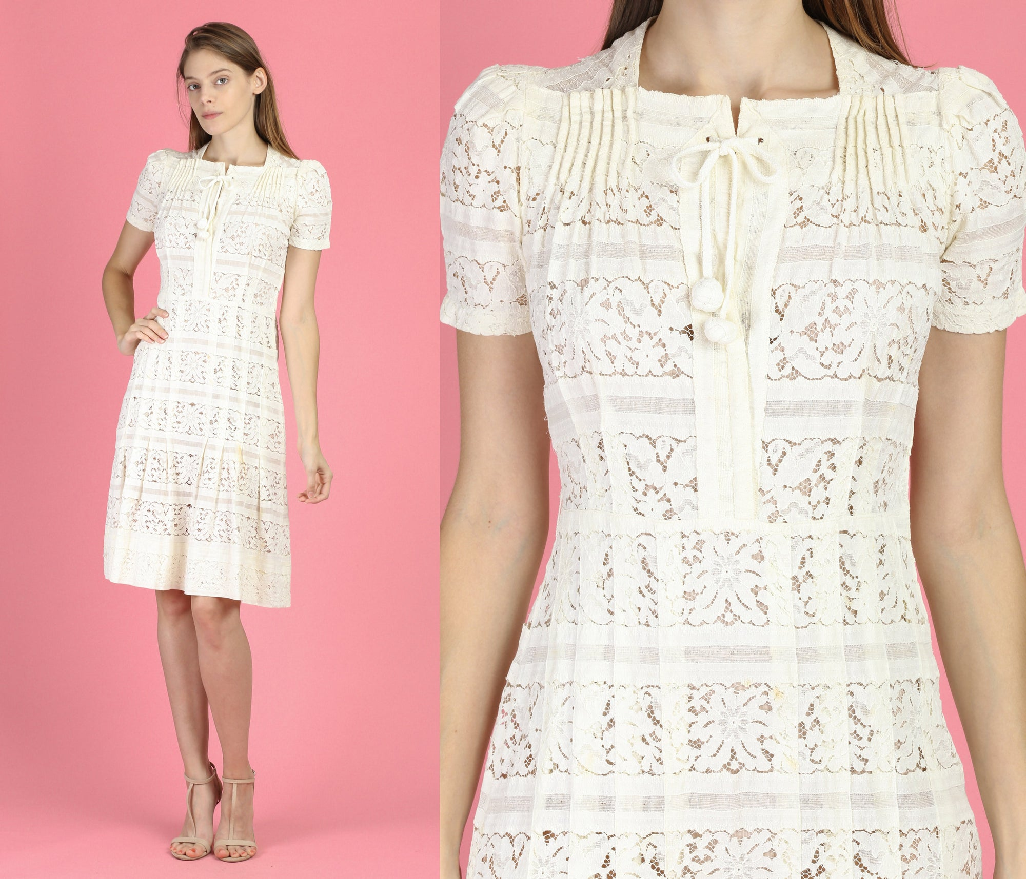 Vintage 1940s White Lace Day Dress - Extra Small