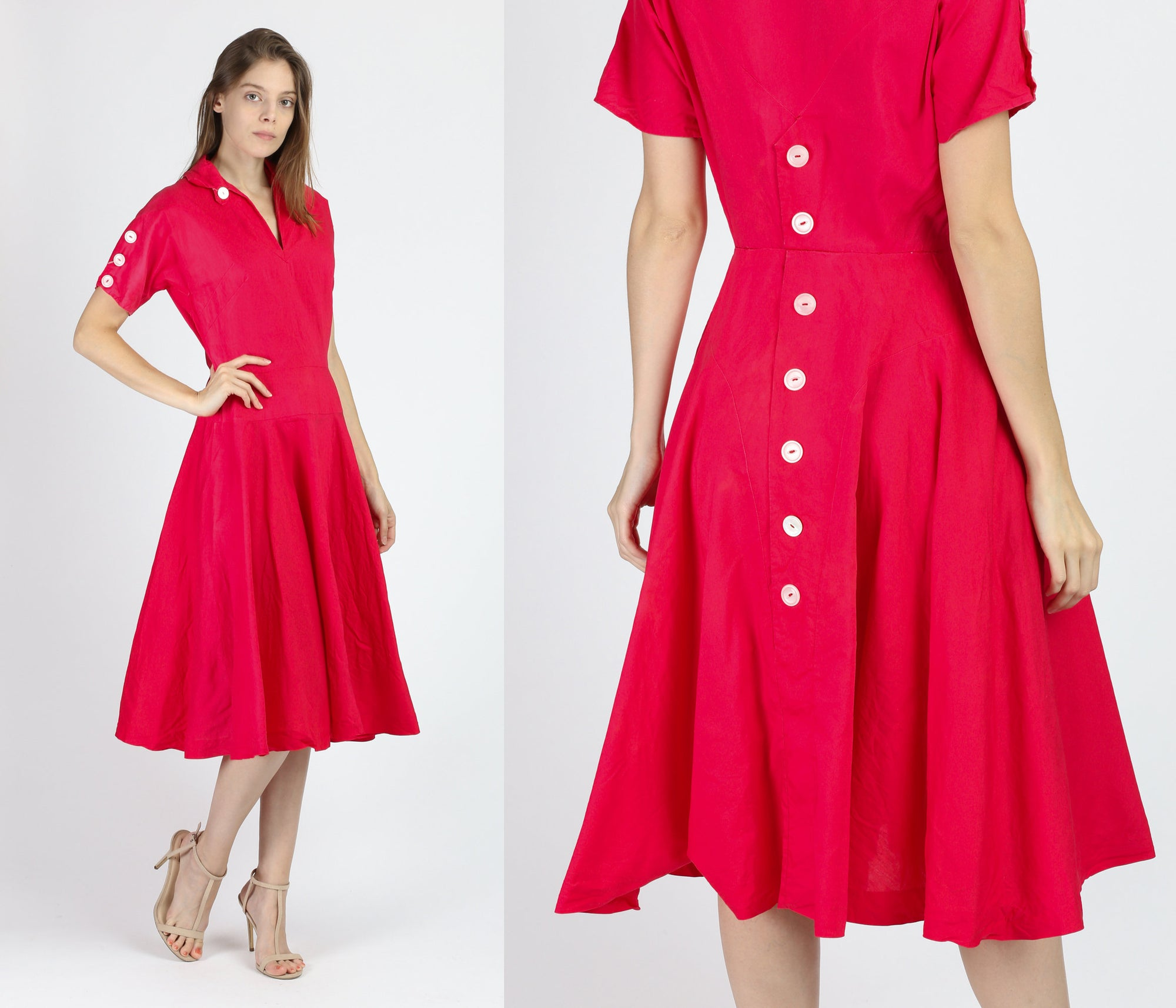 1940s Raspberry Pink Big Button Tea Length Dress - Small