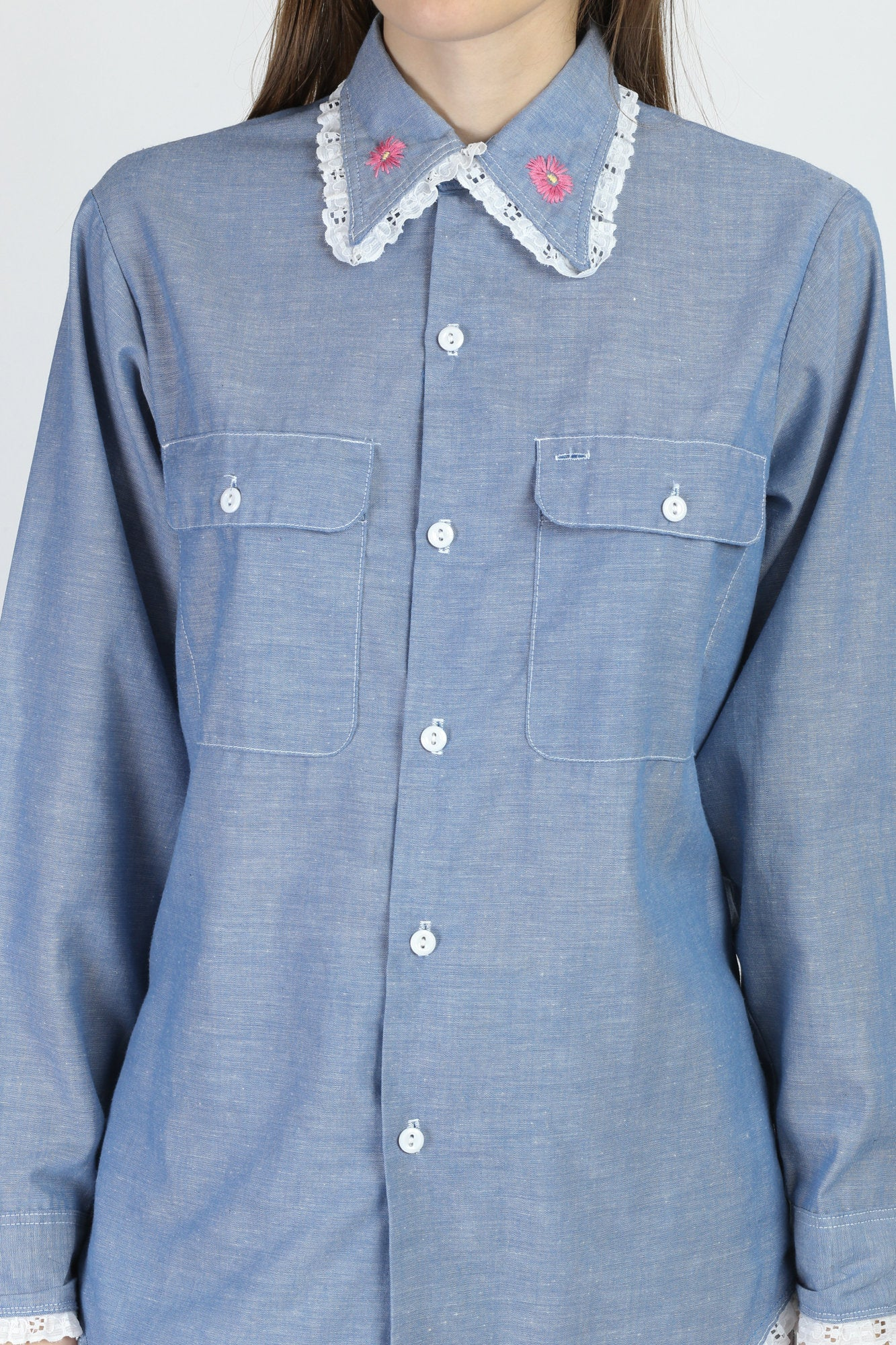 70s Chambray Embroidered Shirt - Large