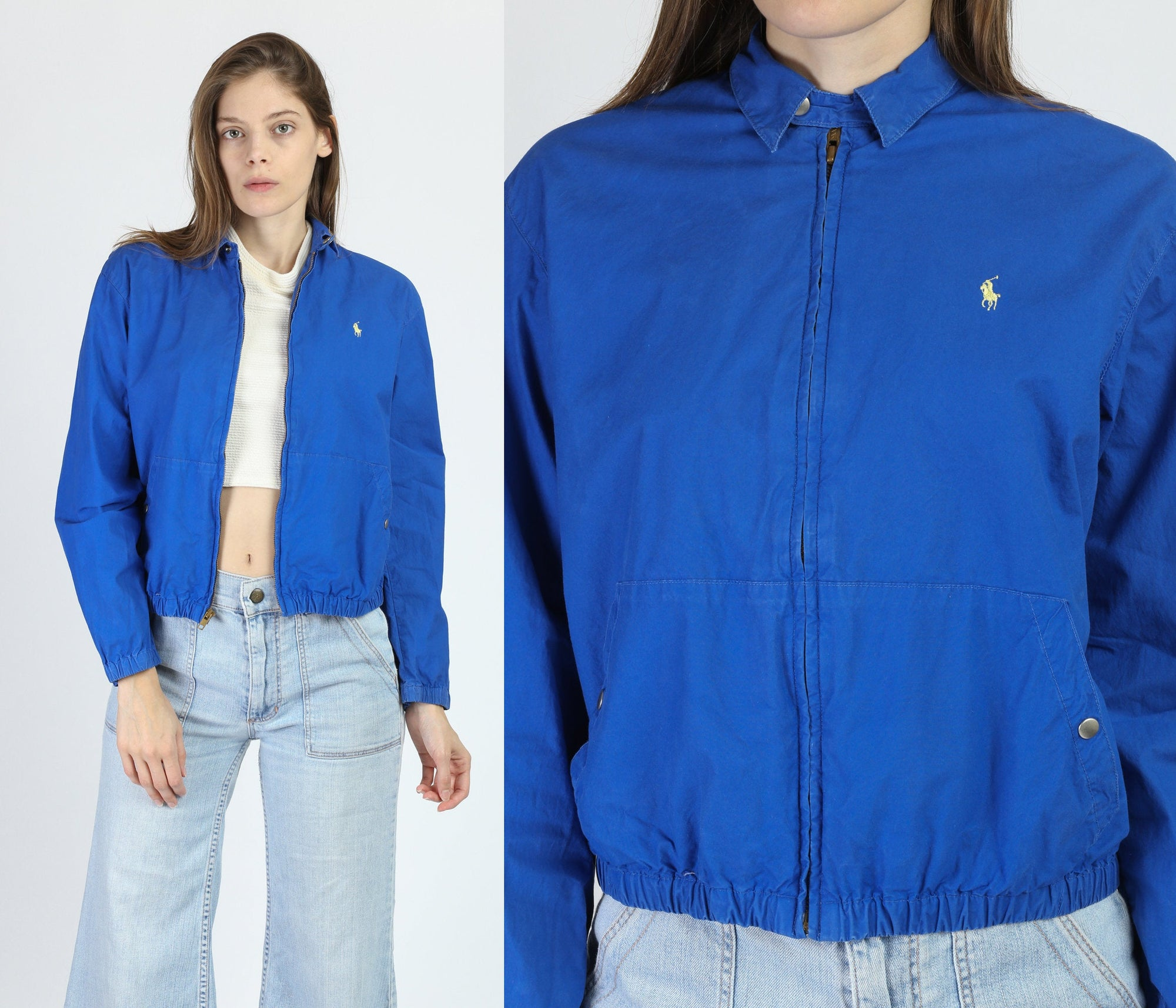 80s Blue Ralph Lauren Polo Jacket - Petite Medium