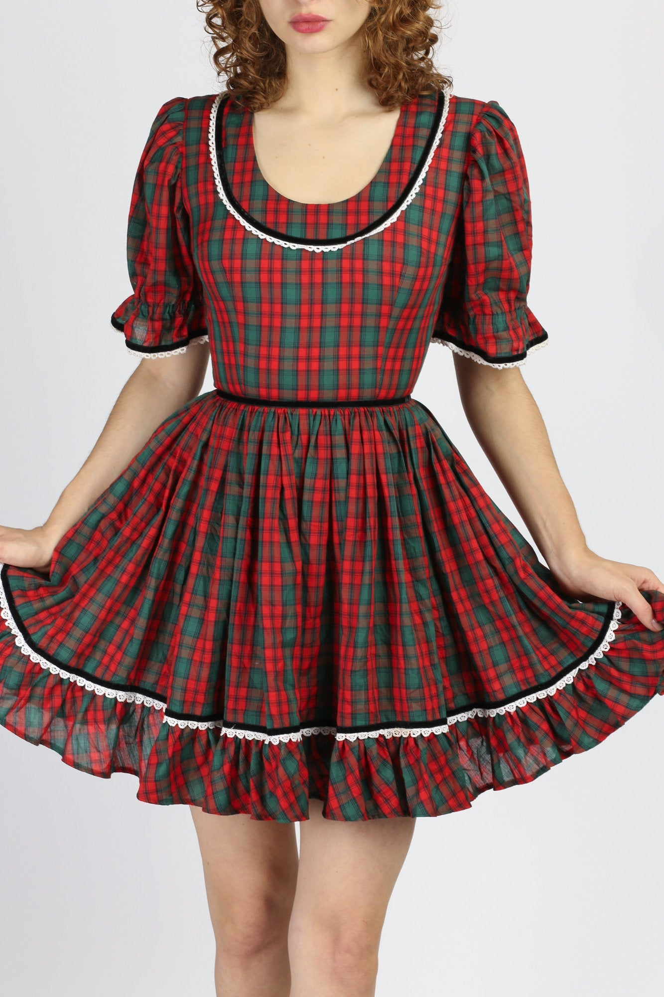 70s Red Plaid Lolita Mini Dress - Extra Small