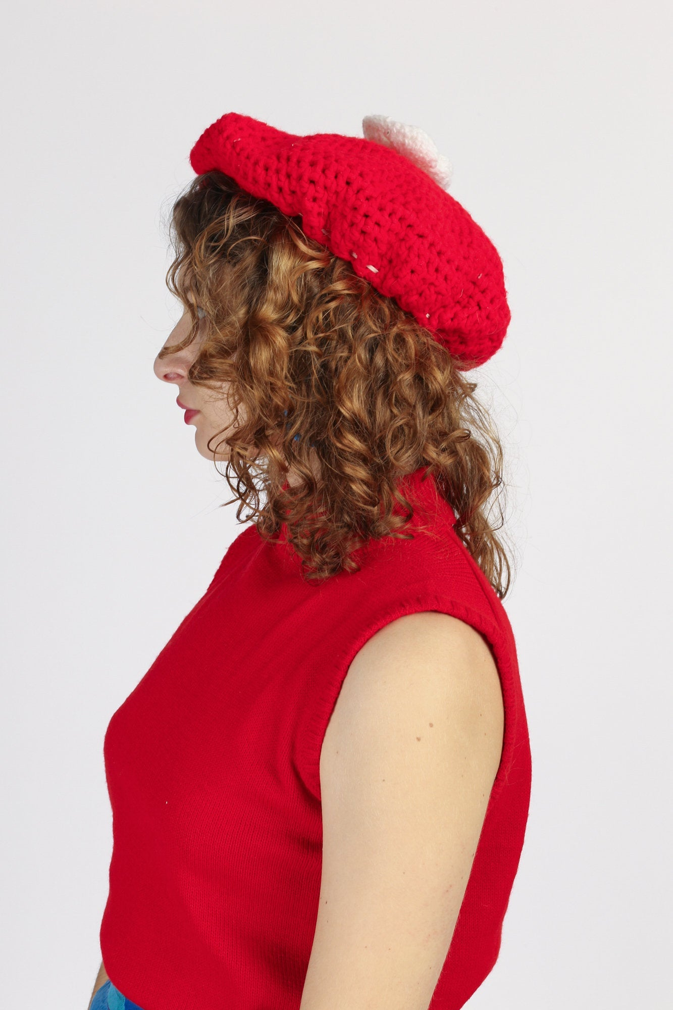 Vintage Red & White Knit Rose Pom Pom Beret - One Size