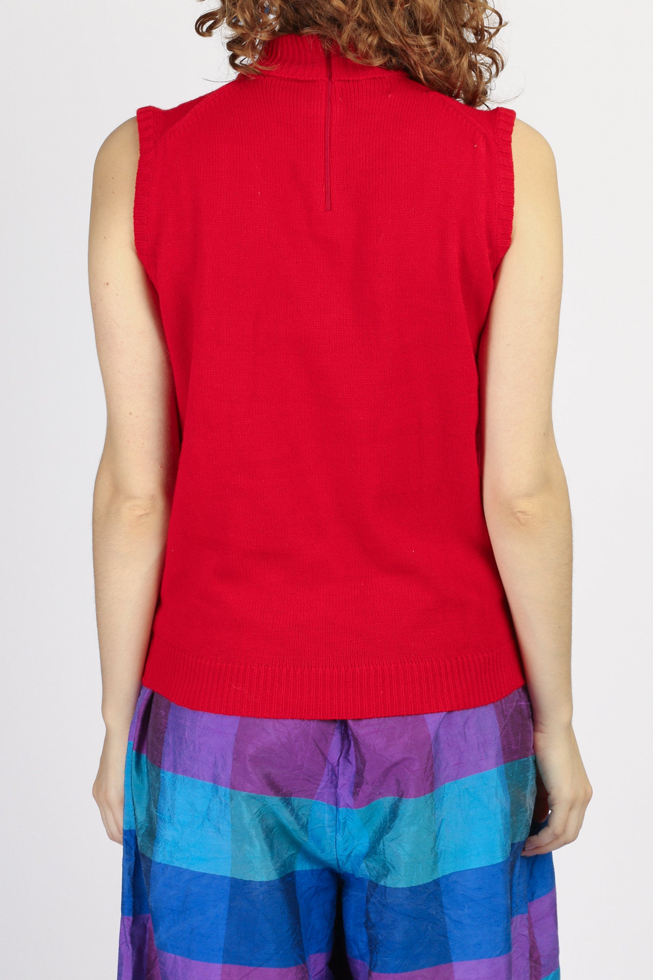 60s 70s Red Sleeveless Sweater Top - Medium