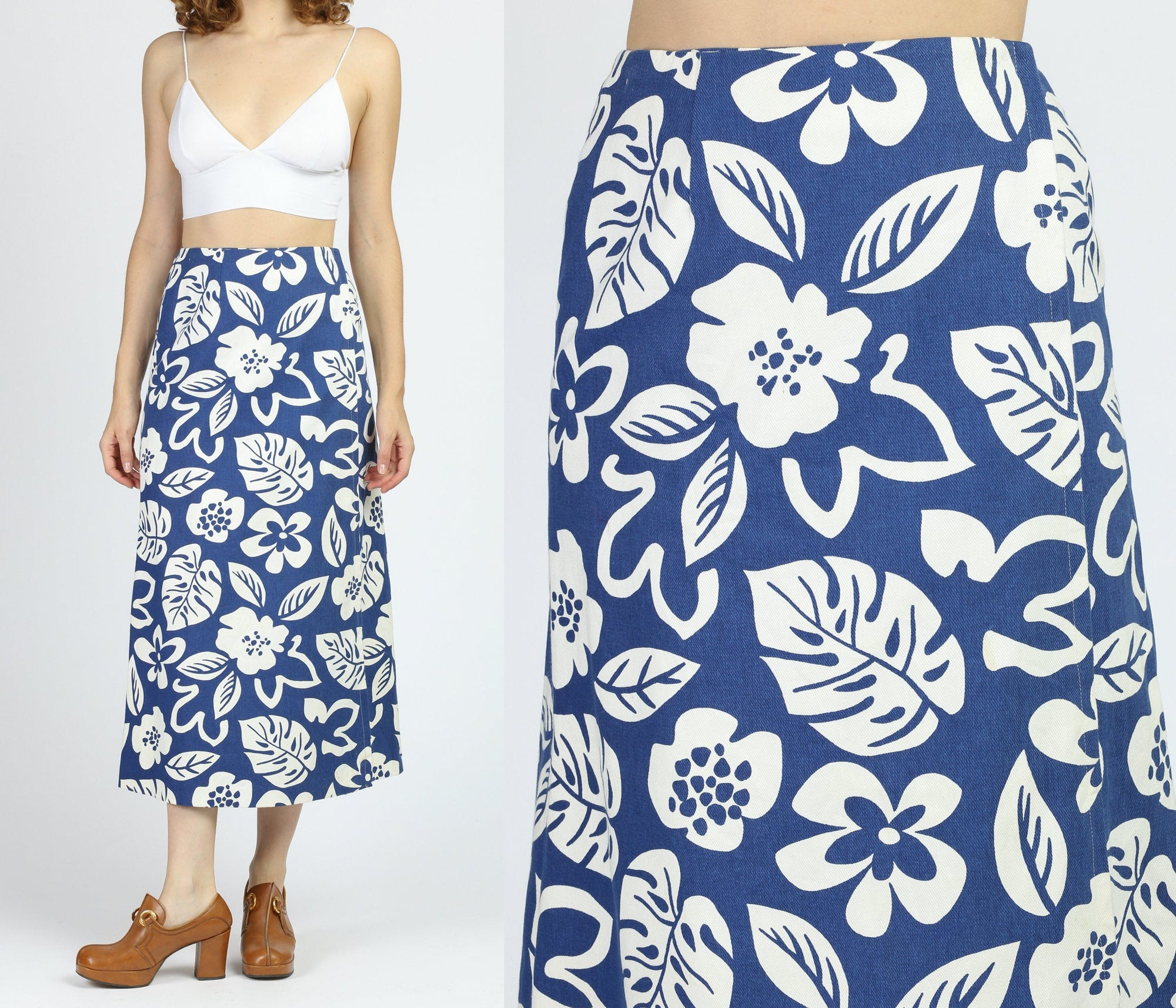 70s Floral Denim Wrap Skirt - Extra Small
