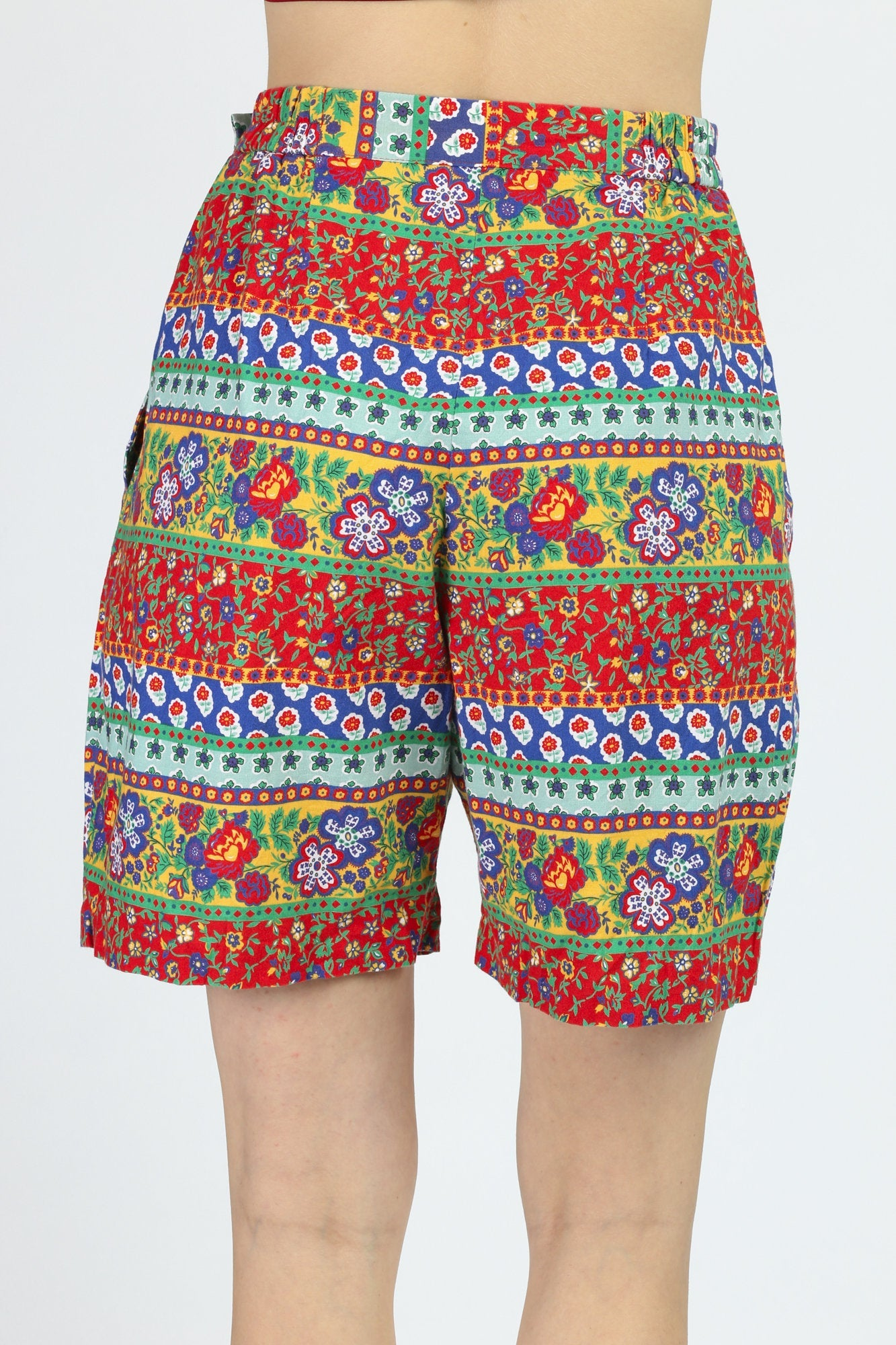 90s Floral Striped Shorts - Medium