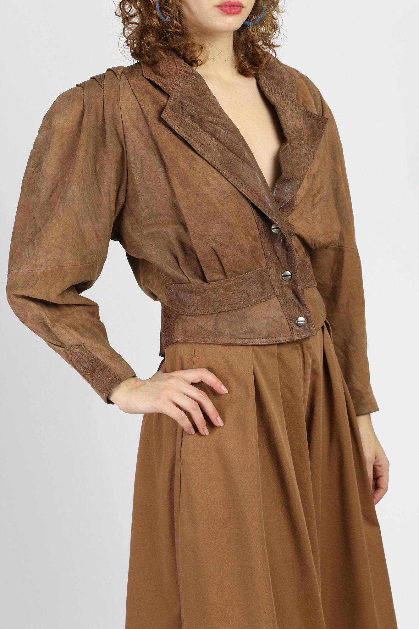 80s Cropped Brown Leather Jacket - Small