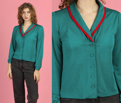 70s Green & Red Trim Cropped Blouse - Medium