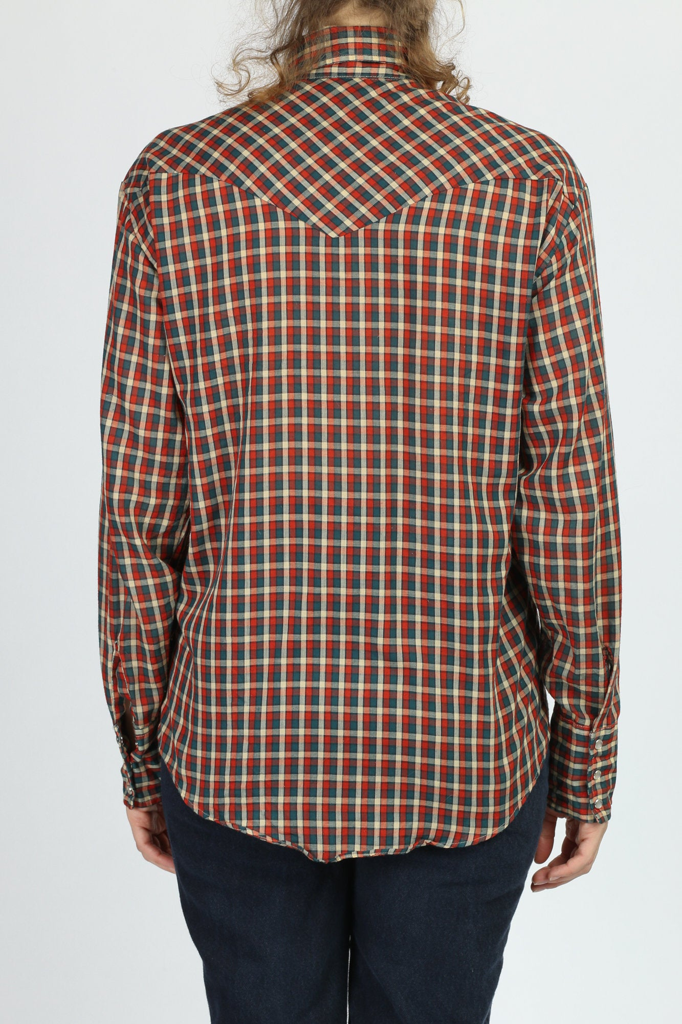 70s Plaid Pearl Snap Western Shirt - Men's Medium