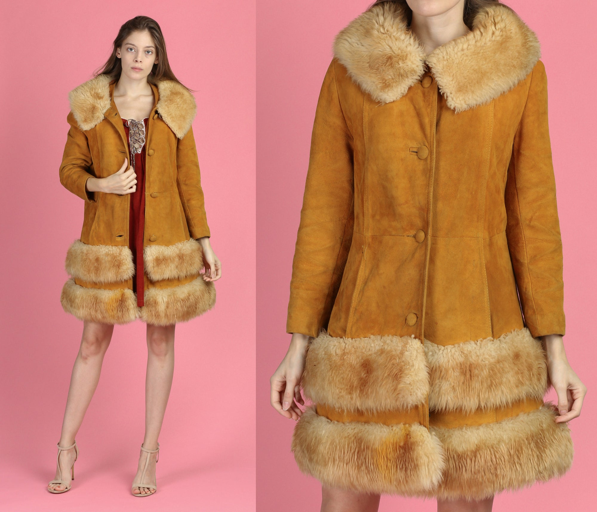 70s Penny Lane Suede Faux Fur Trim Jacket - Small