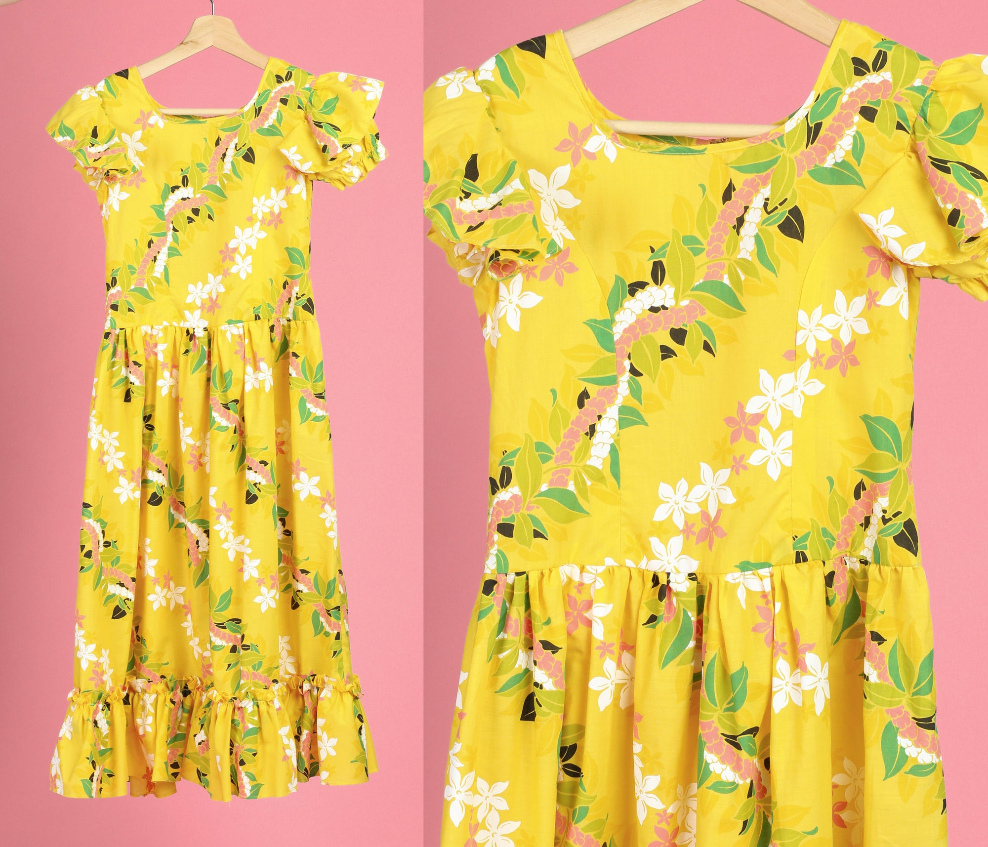 70s Yellow Floral Maxi Dress - Girl's Medium