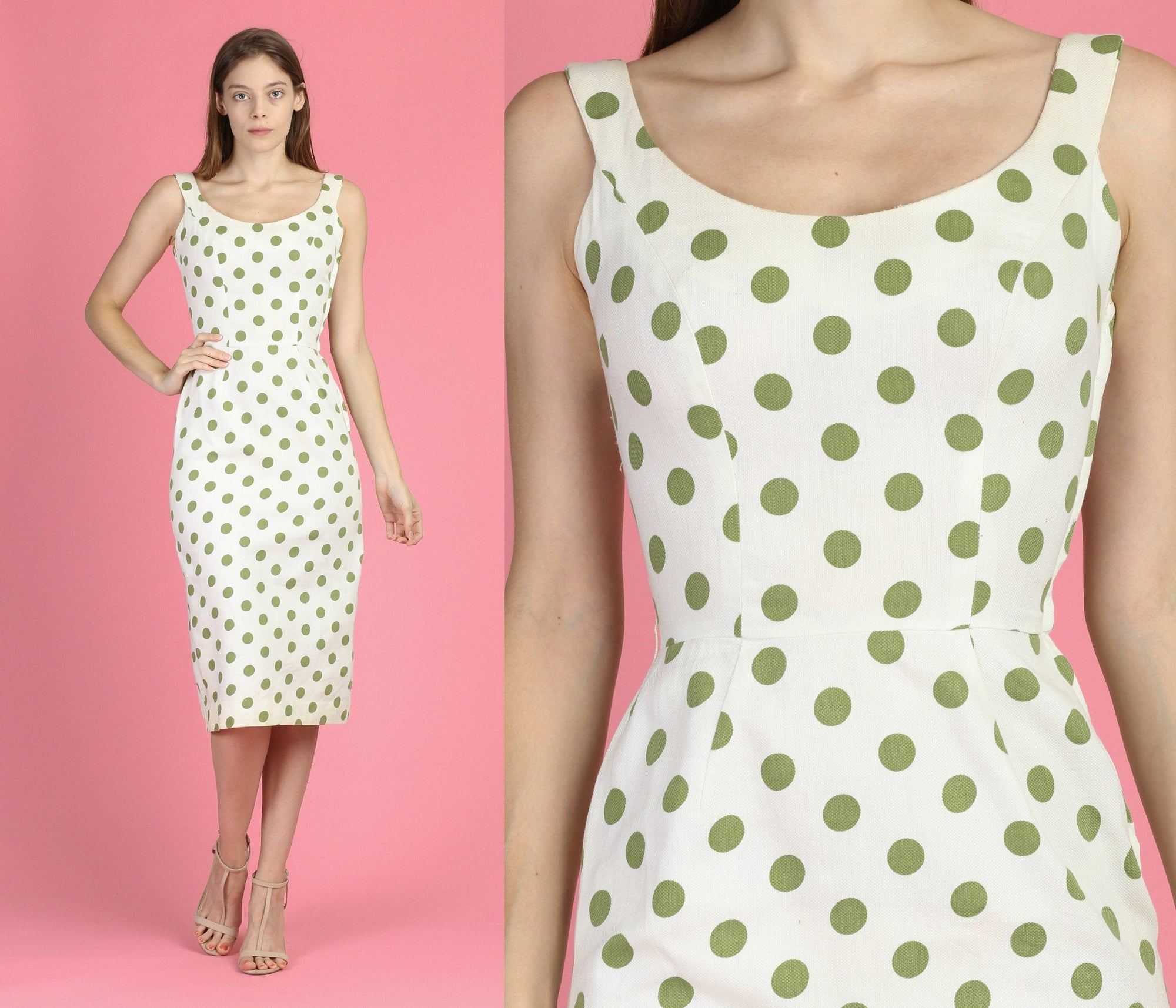 60s Polka Dot Sheath Wiggle Dress - Extra Small