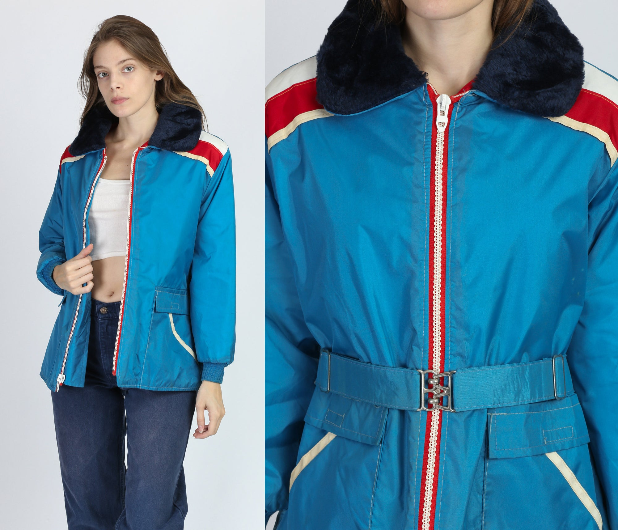 70s Blue Striped Belted Puffer Coat - Medium
