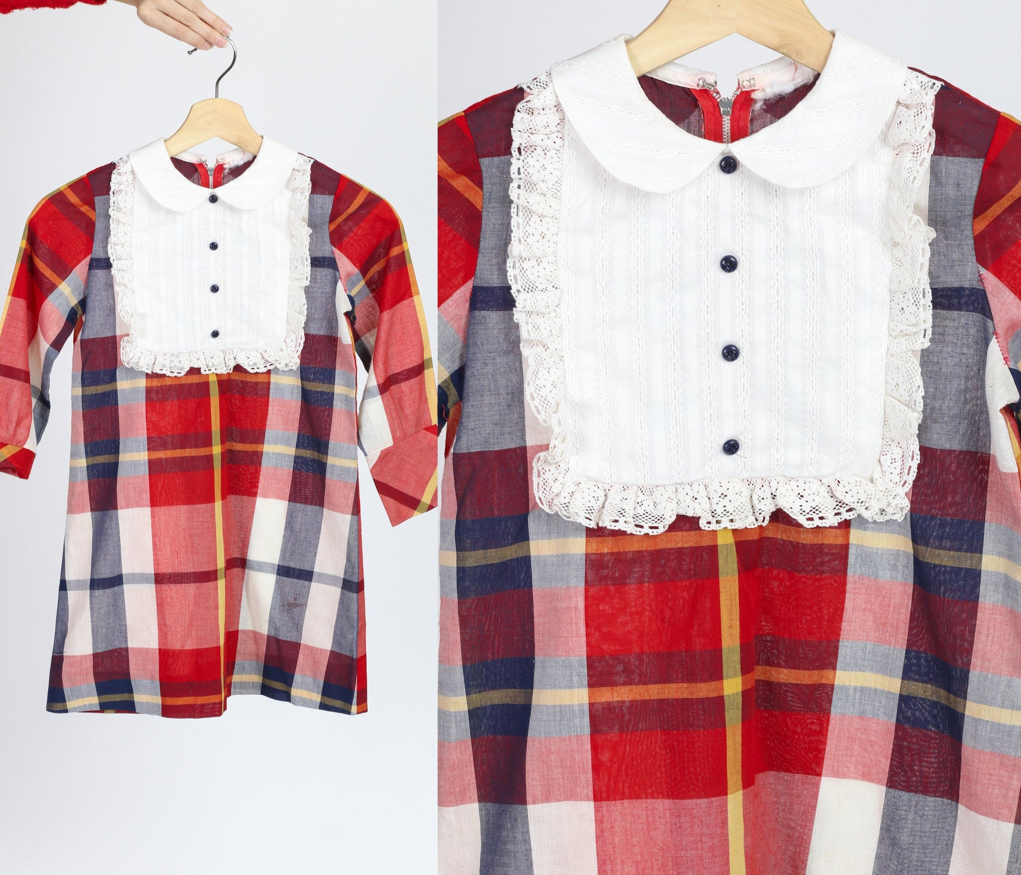 60s Girl's Red Plaid Peter Pan Collar Dress - Youth Medium