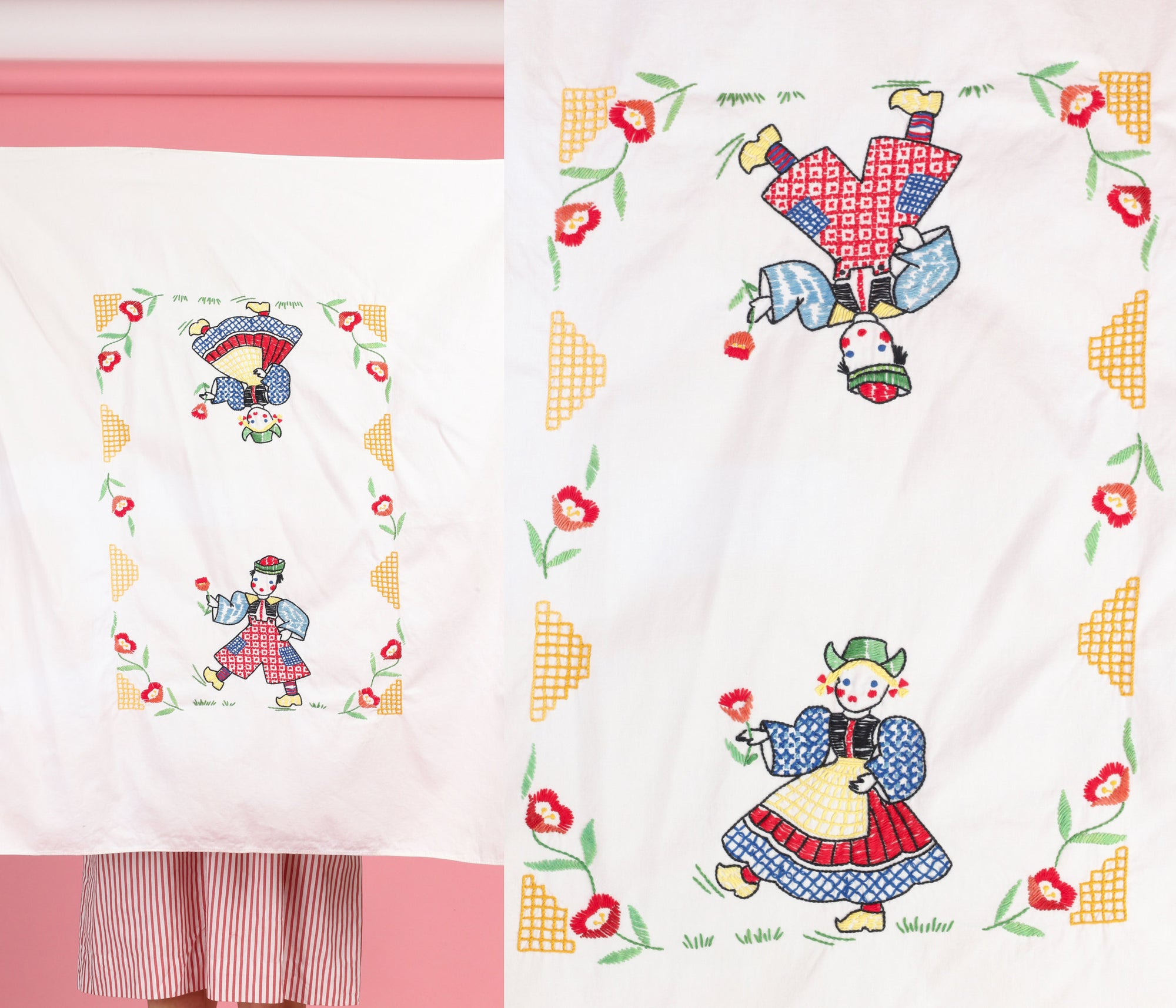 Vintage Embroidered Dutch Boy & Girl Kitsch Tablecloth