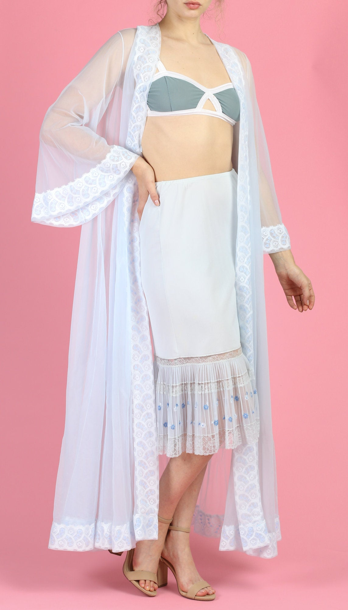 60s Miss Elaine Sheer Blue Peignoir Robe - Medium