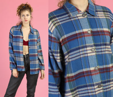 80s Plaid Button Up Collared Top - Women's Large