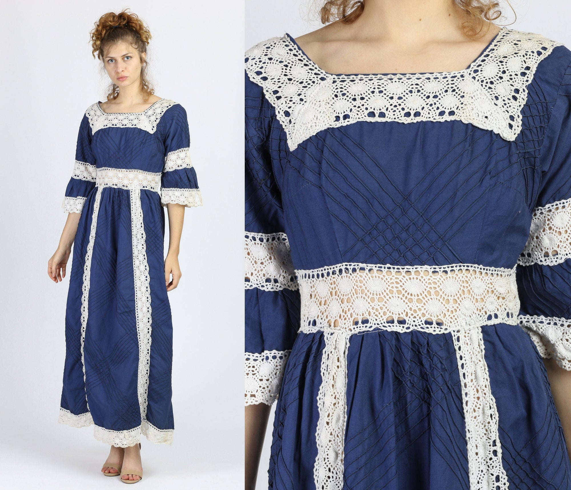 1960s Mexican Boho Crochet Trim Maxi Dress - Small