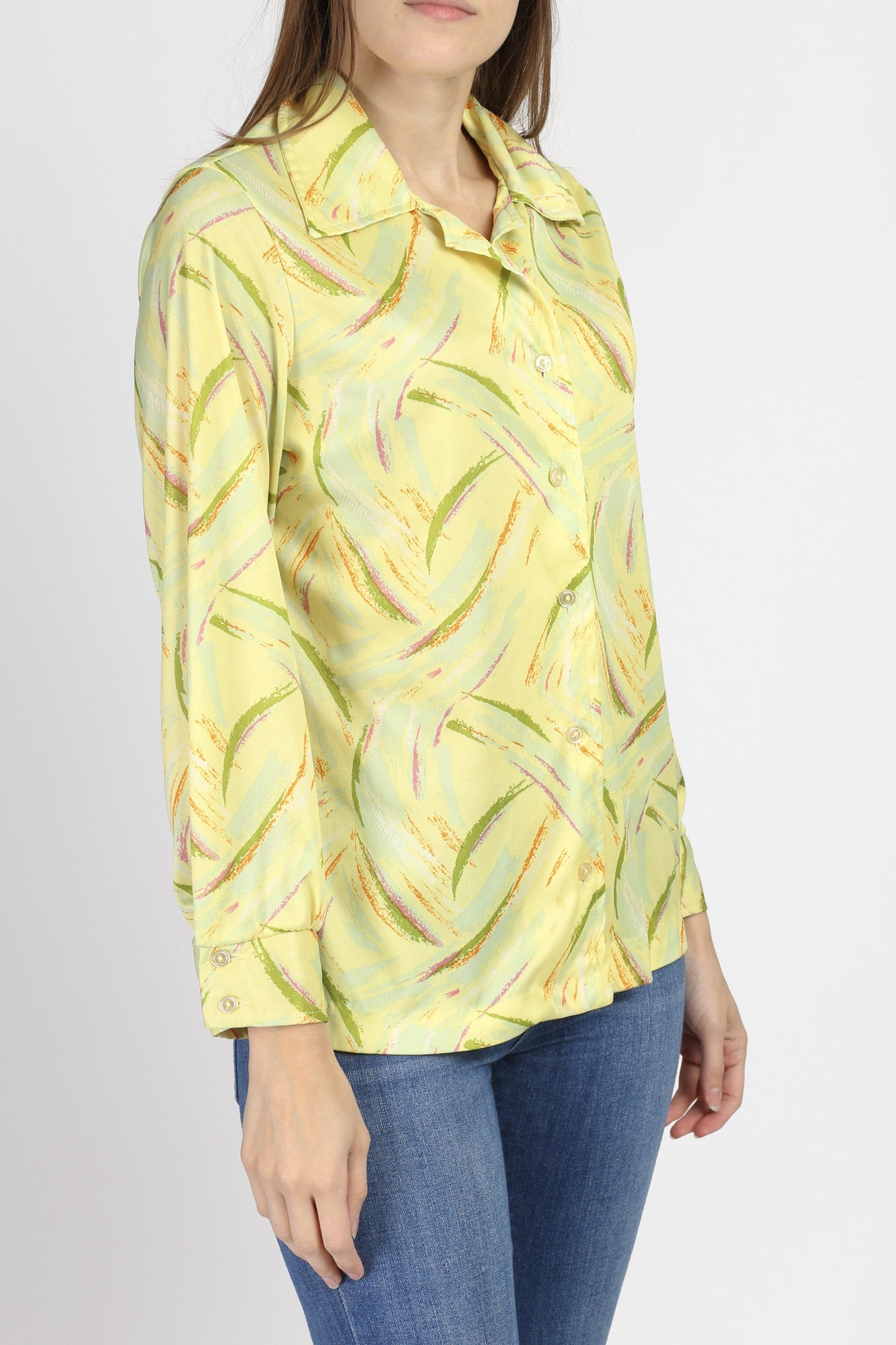 70s Abstract Print Disco Blouse - Large