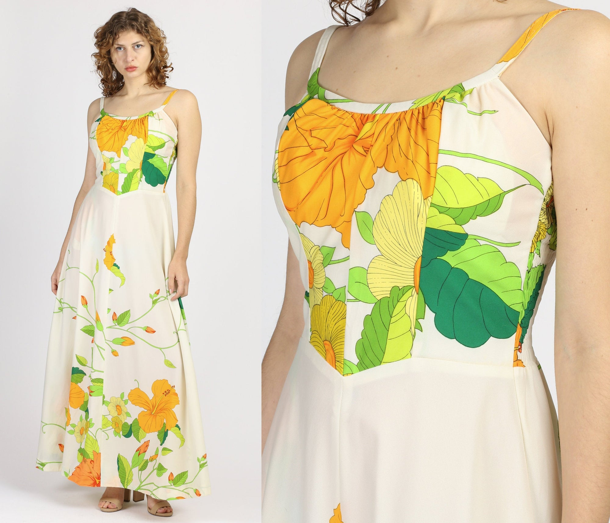 60s 70s Hawaiian Halter Sundress - Medium