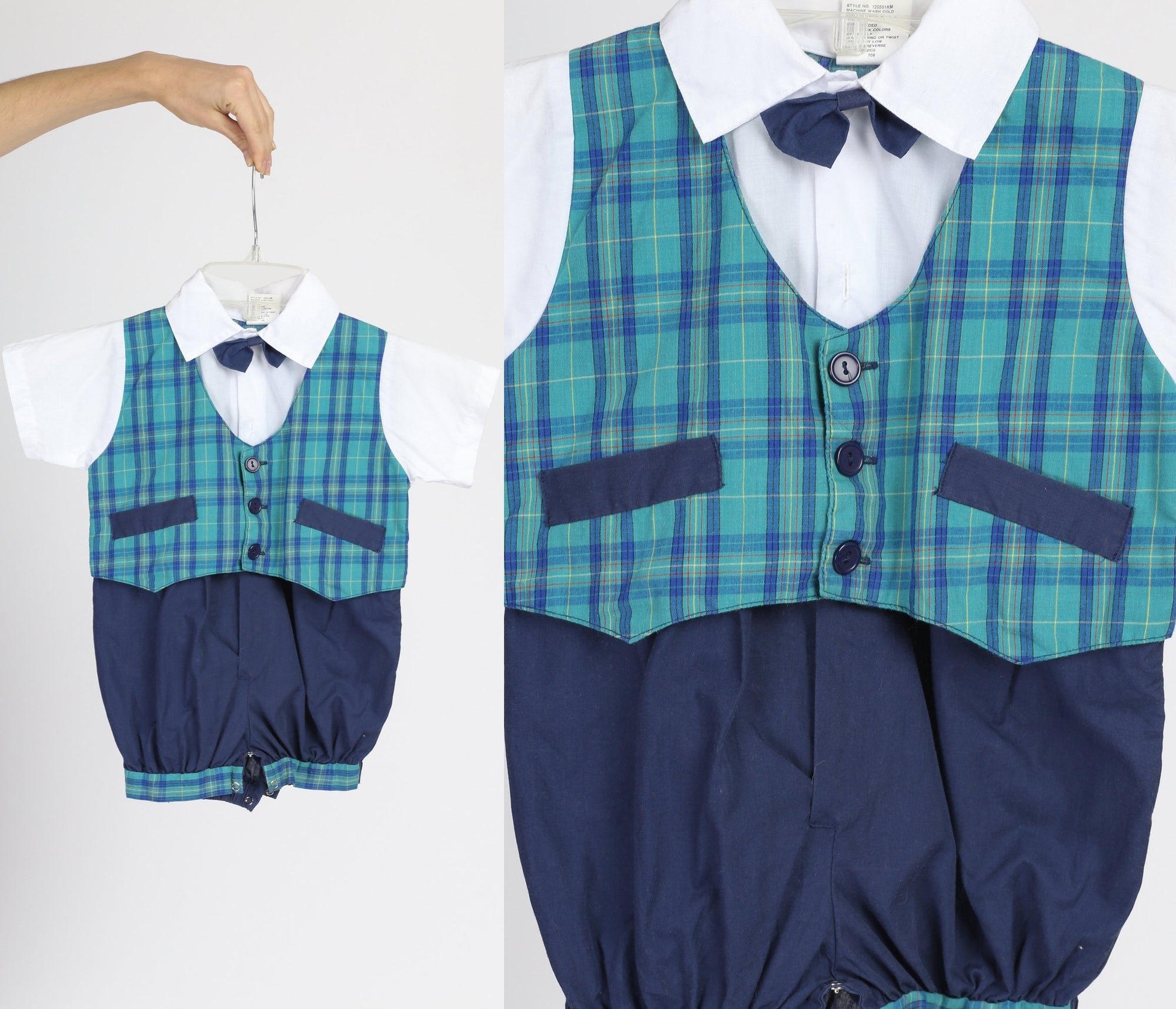 80s Plaid Suit Baby Onesie - 24 Months