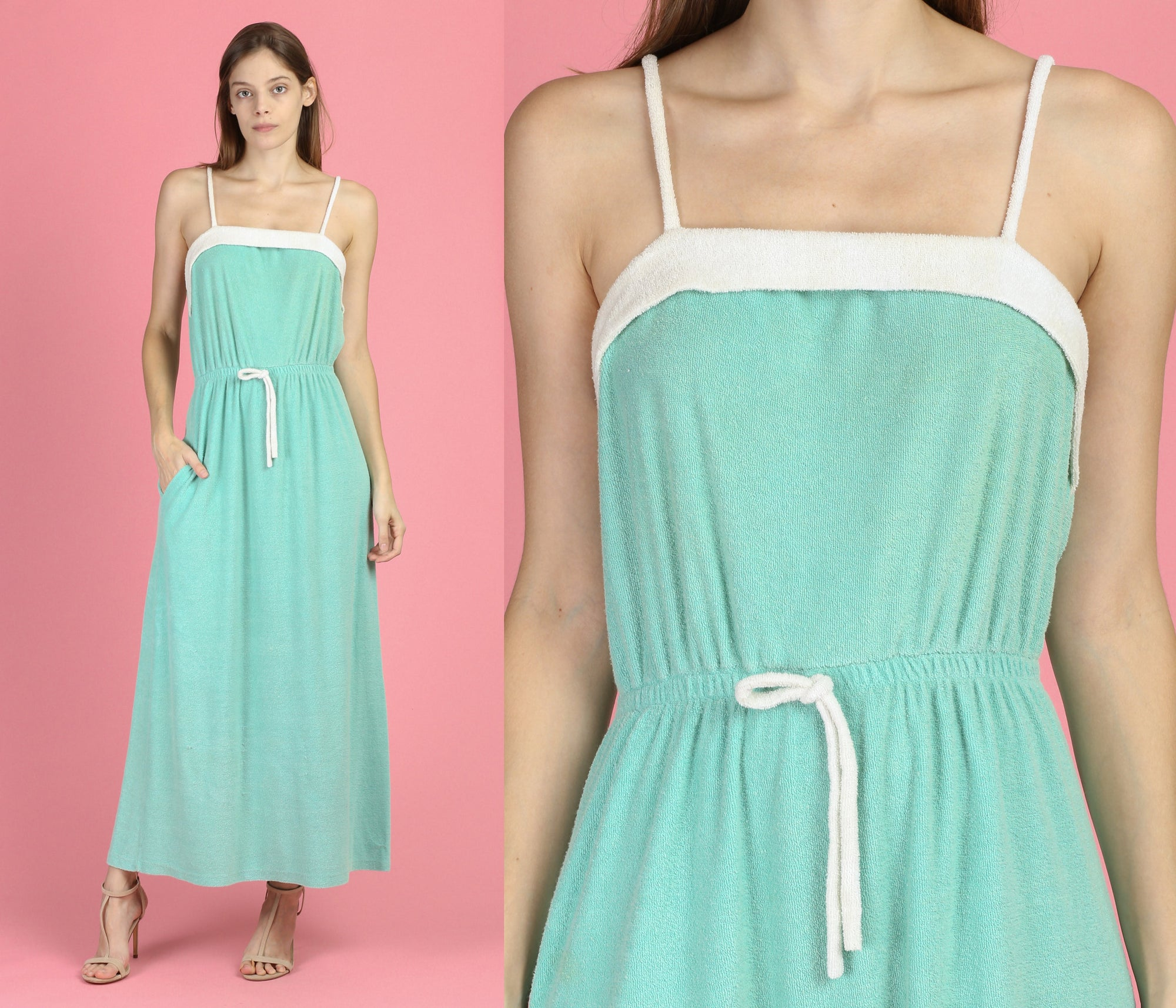 70s Mint Green Terrycloth Sundress - Medium