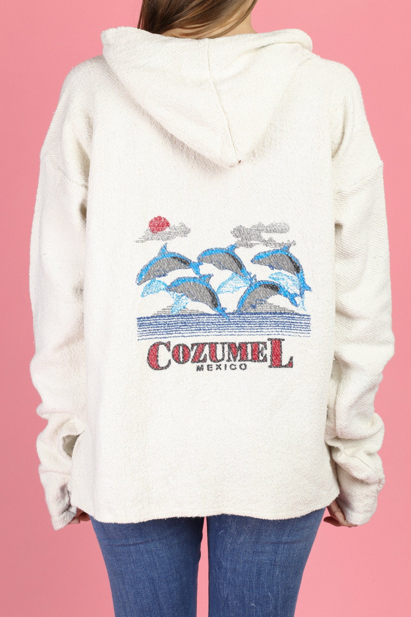 Vintage Cozumel Mexico Cotton Baja Hoodie - Extra Large