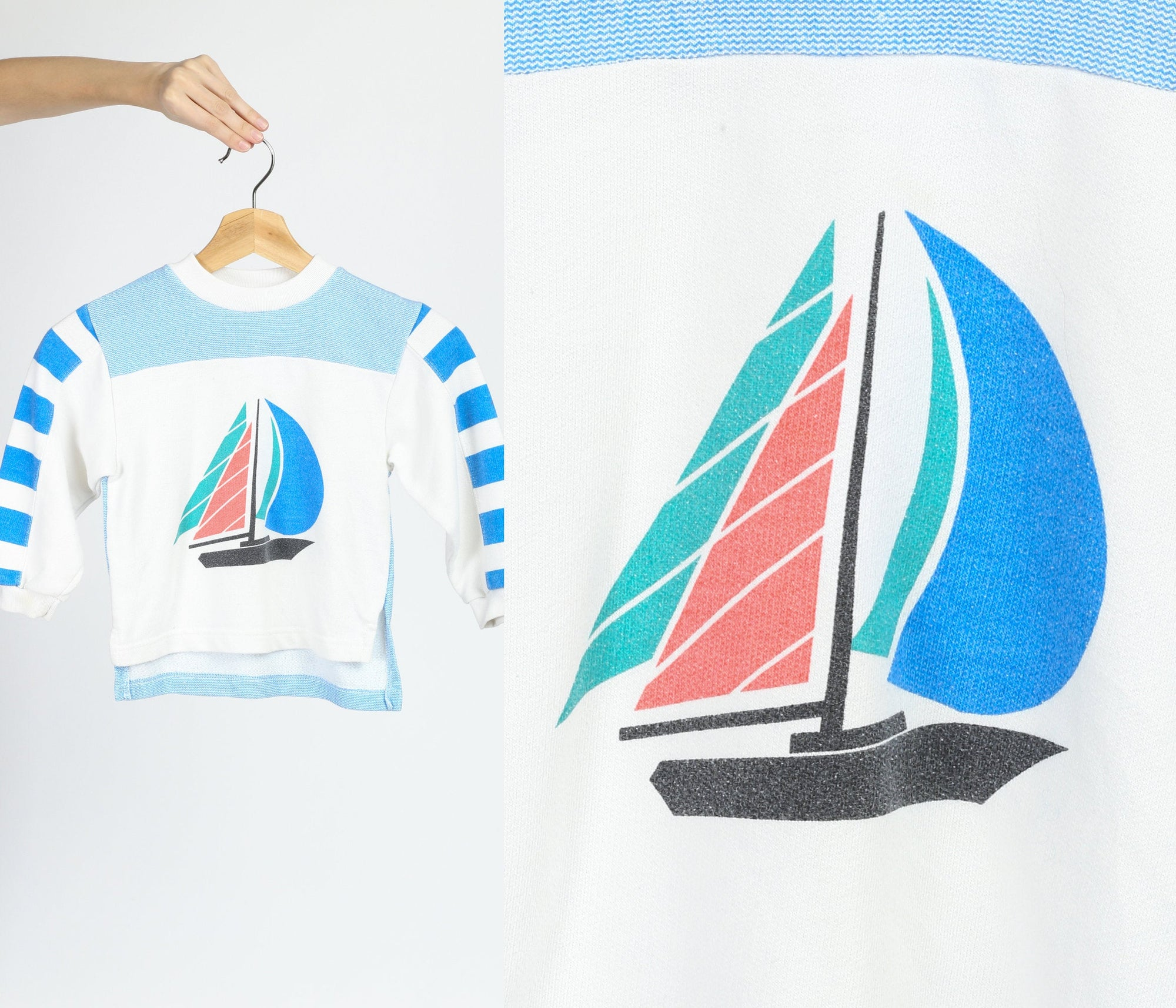 90s Kid's Sailboat Sweatshirt - Small