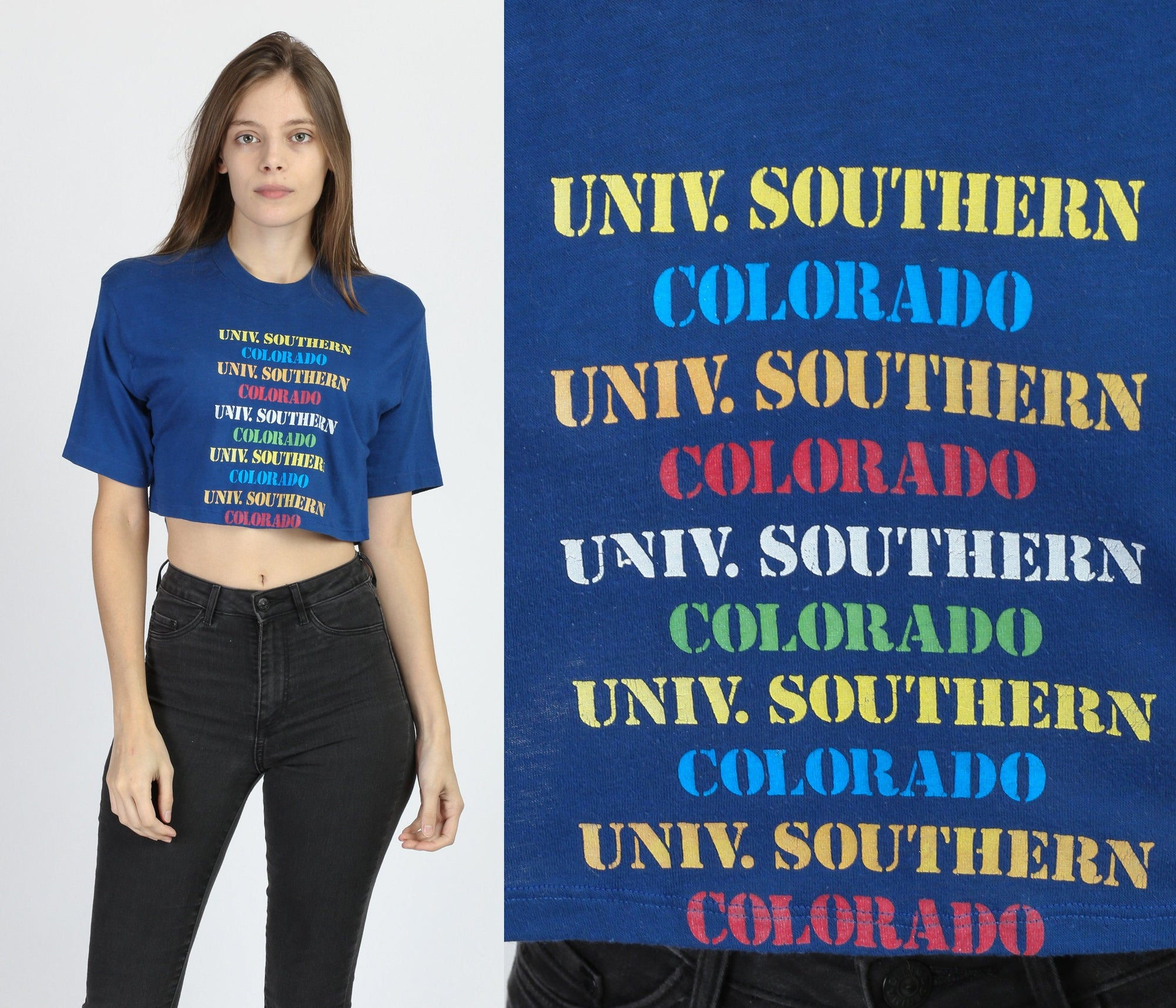 70s University Of Southern Colorado Crop Top - Medium