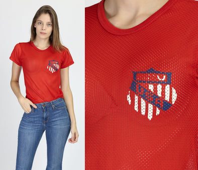 80s Team USA Red Mesh Soccer Jersey - Extra Small