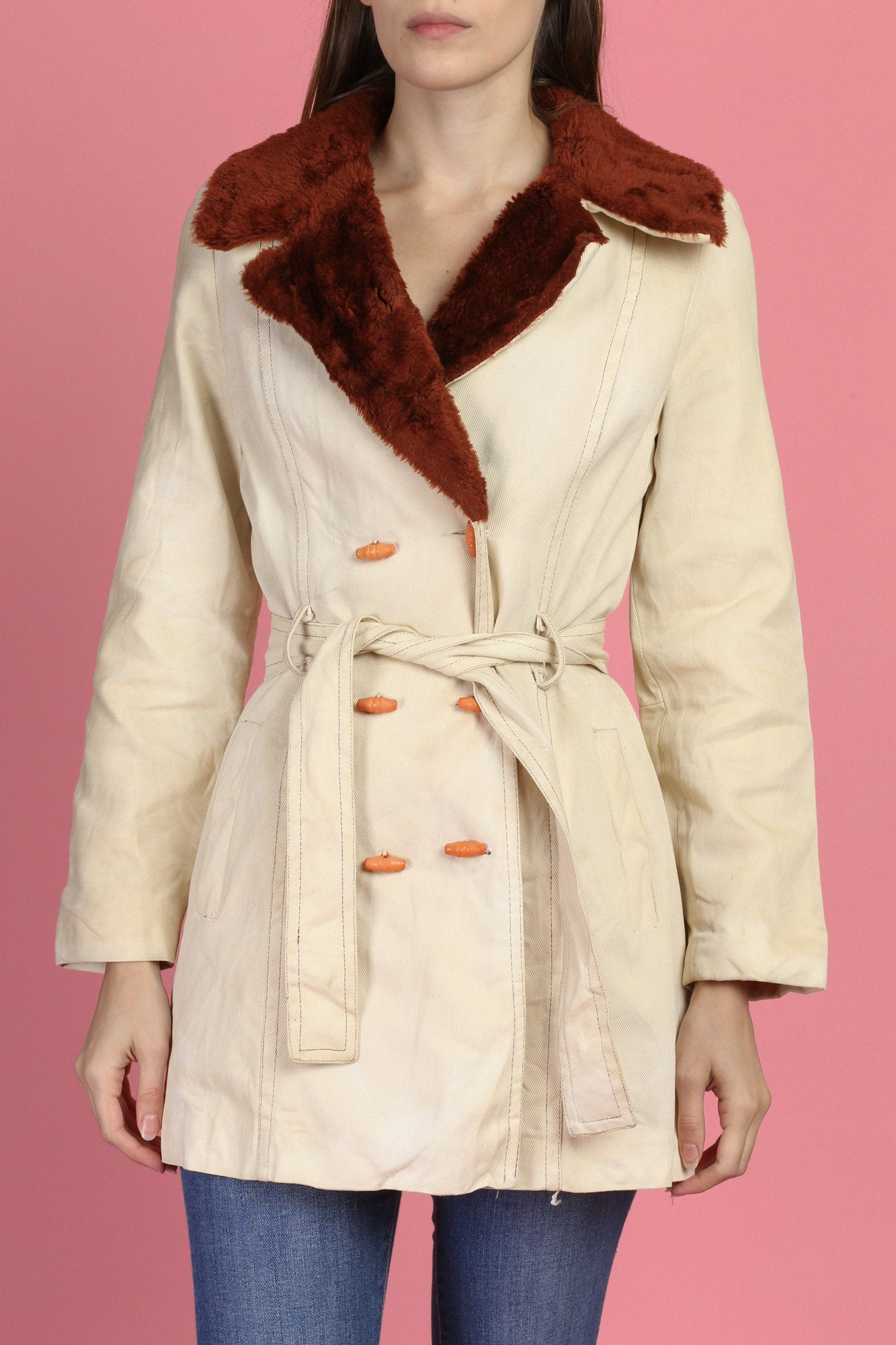 70s Faux Fur Trim Belted Jacket - Extra Small