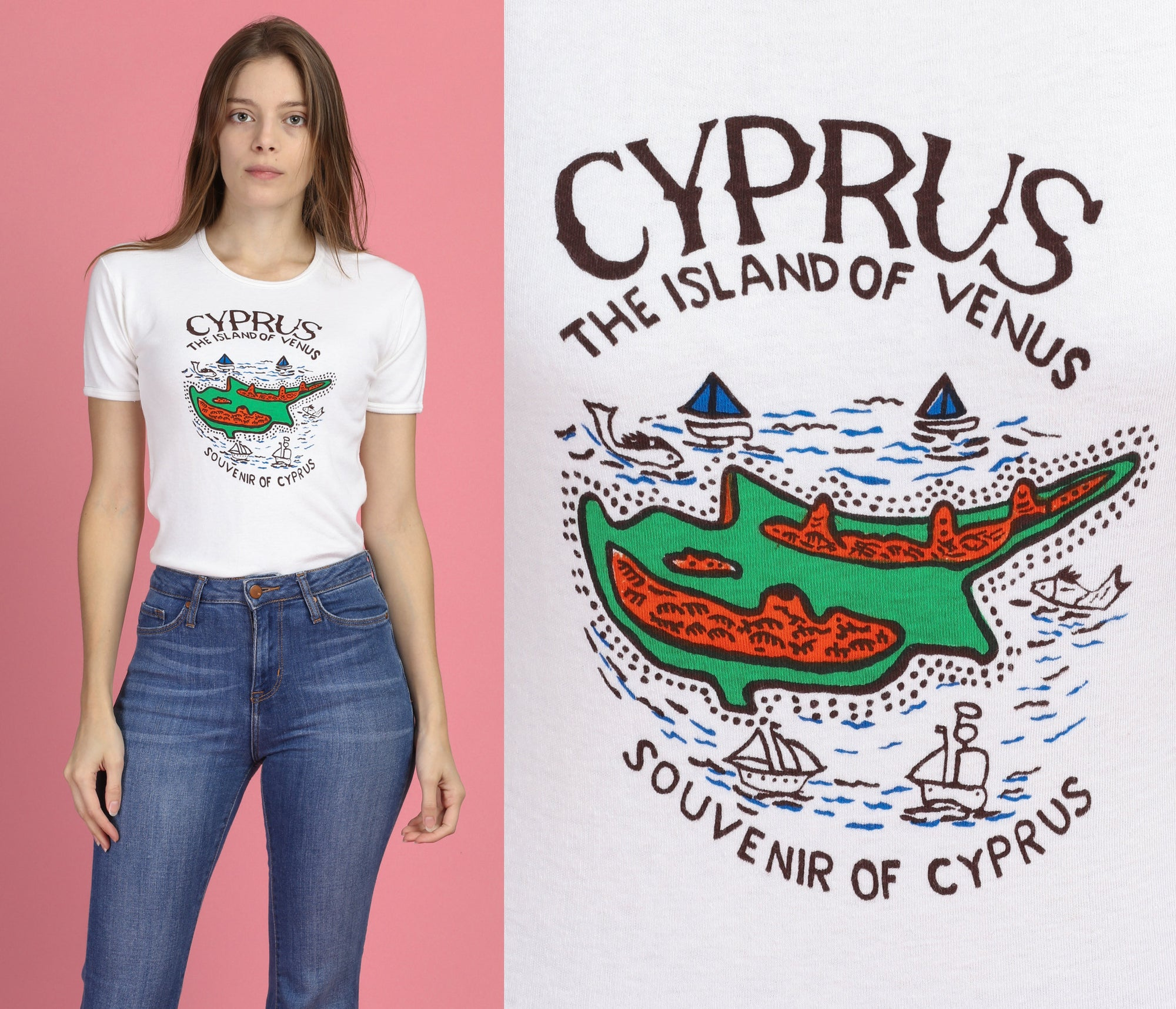 70s Cyprus Island Of Venus T Shirt - Small to Medium