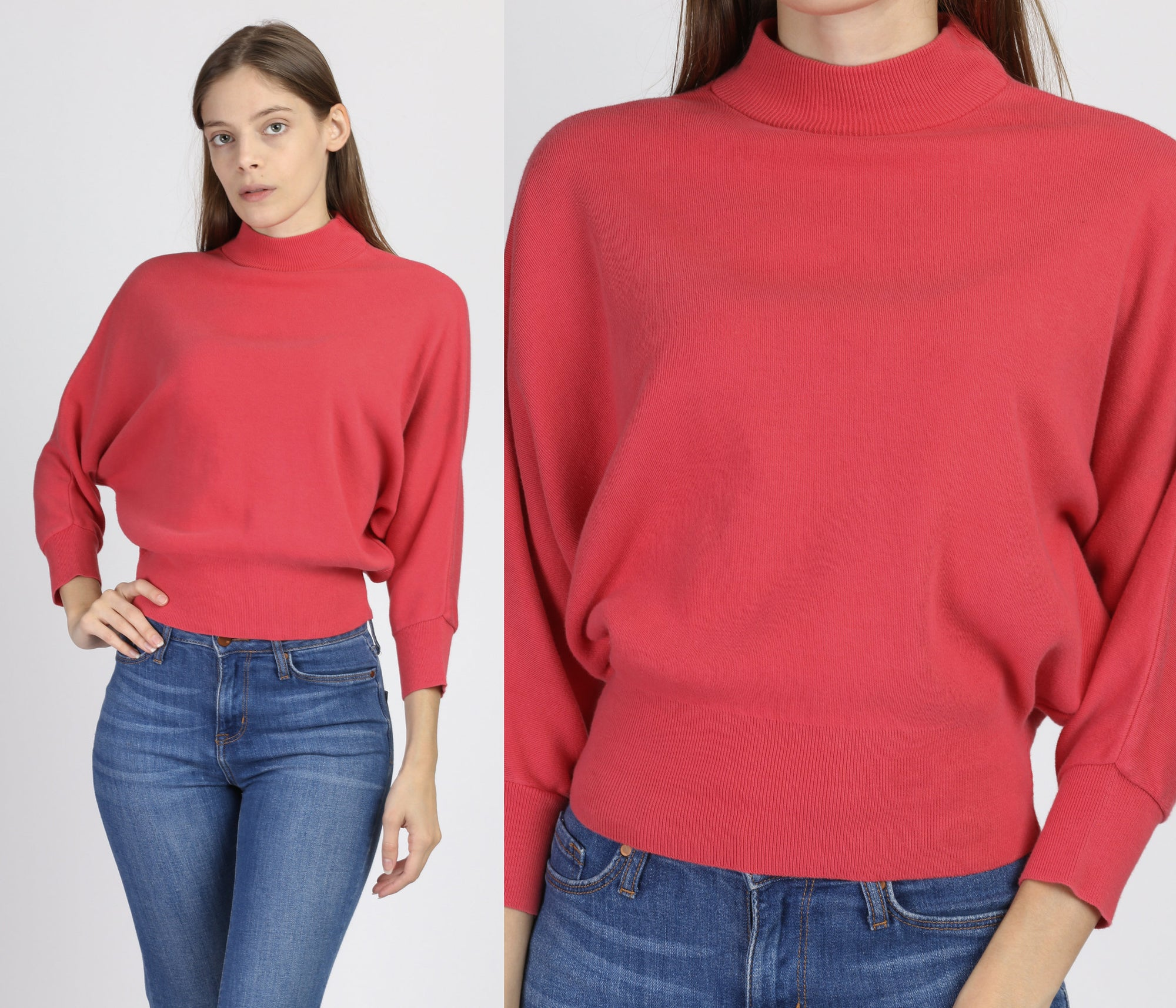 80s Pink Cropped Batwing Top - Petite Small